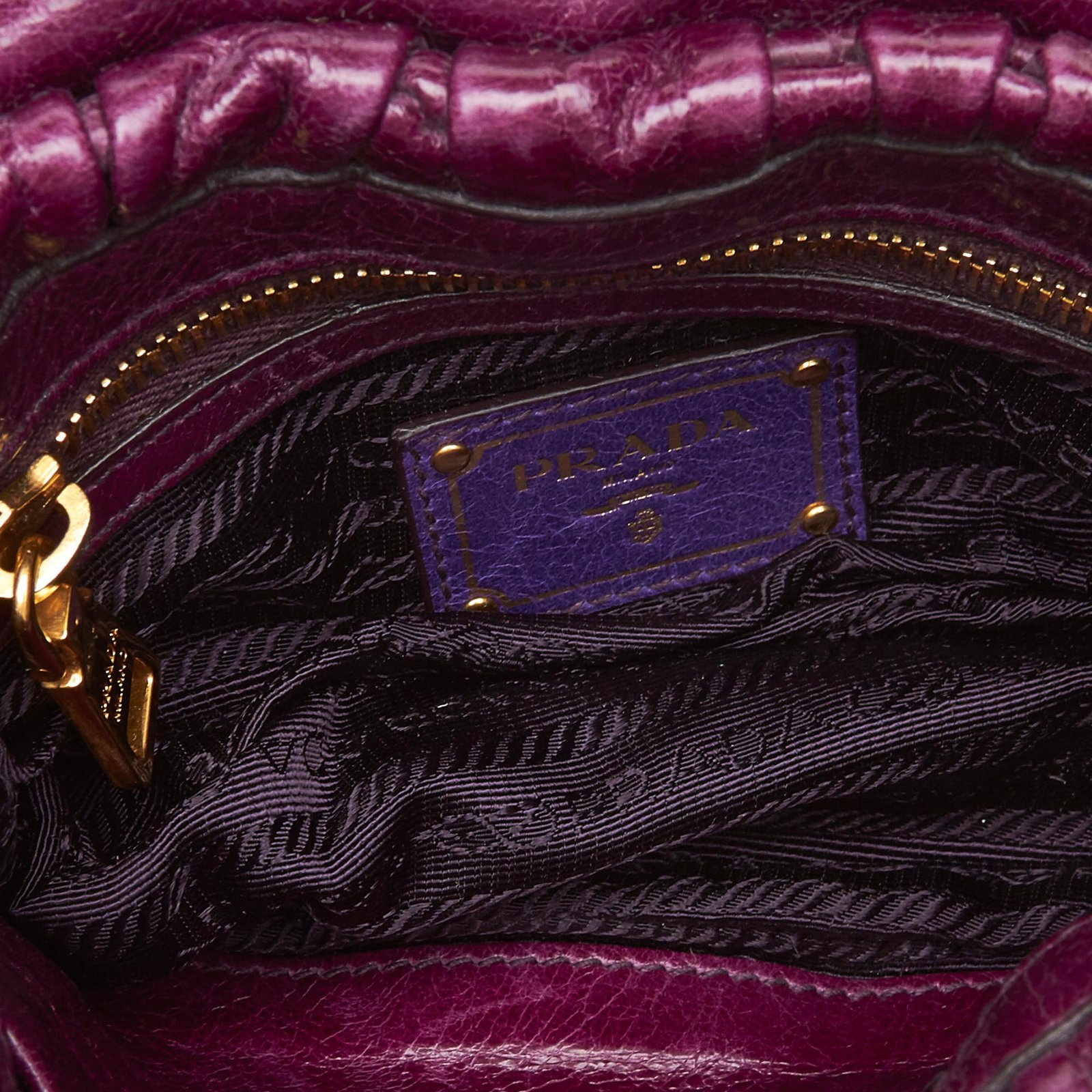 9830713cd1e3 Prada Mini Gathered Leather Chain Crossbody Bag Handbags Leather,Other  Purple ref.101899 - Joli Closet