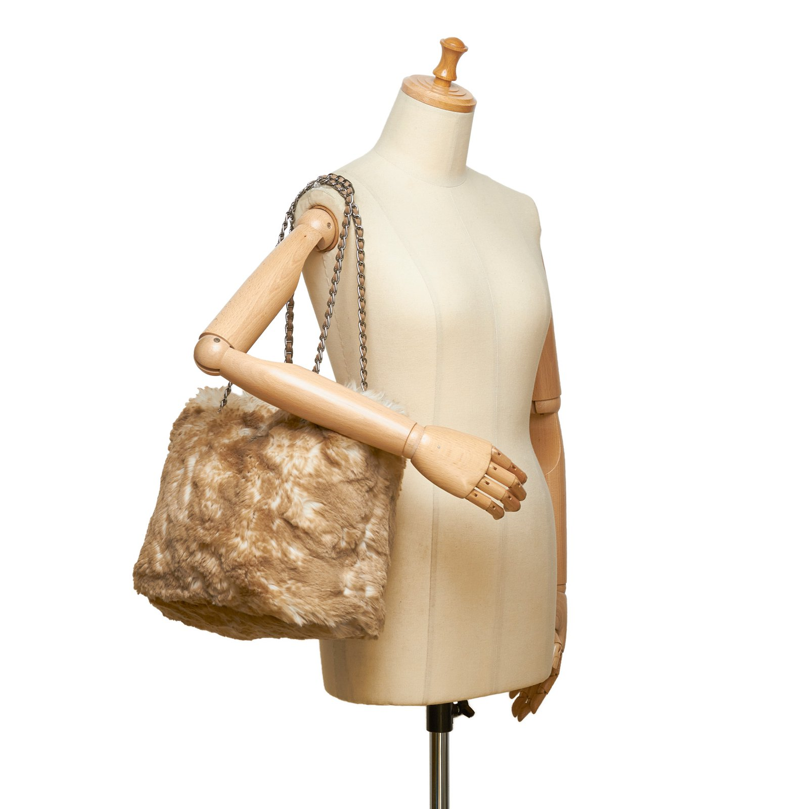 Prada Faux Fur Chain Tote Bag Totes Leather,Other Brown,White,Beige,Cream  ref.101900 - Joli Closet 2d71dc5fee