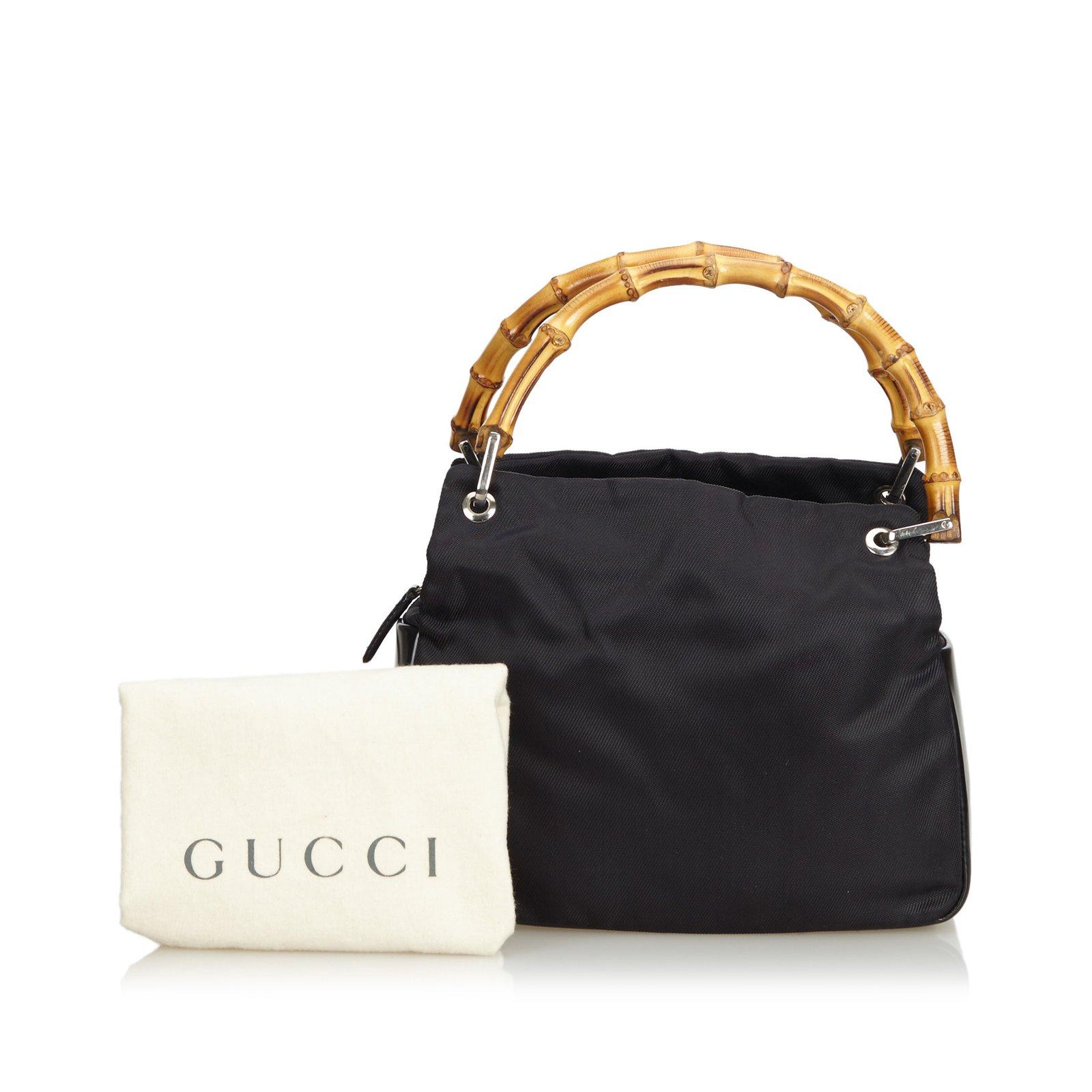 68cc36243fc1 Gucci Bamboo Nylon Handbag Handbags Leather,Other,Nylon,Cloth Black ...