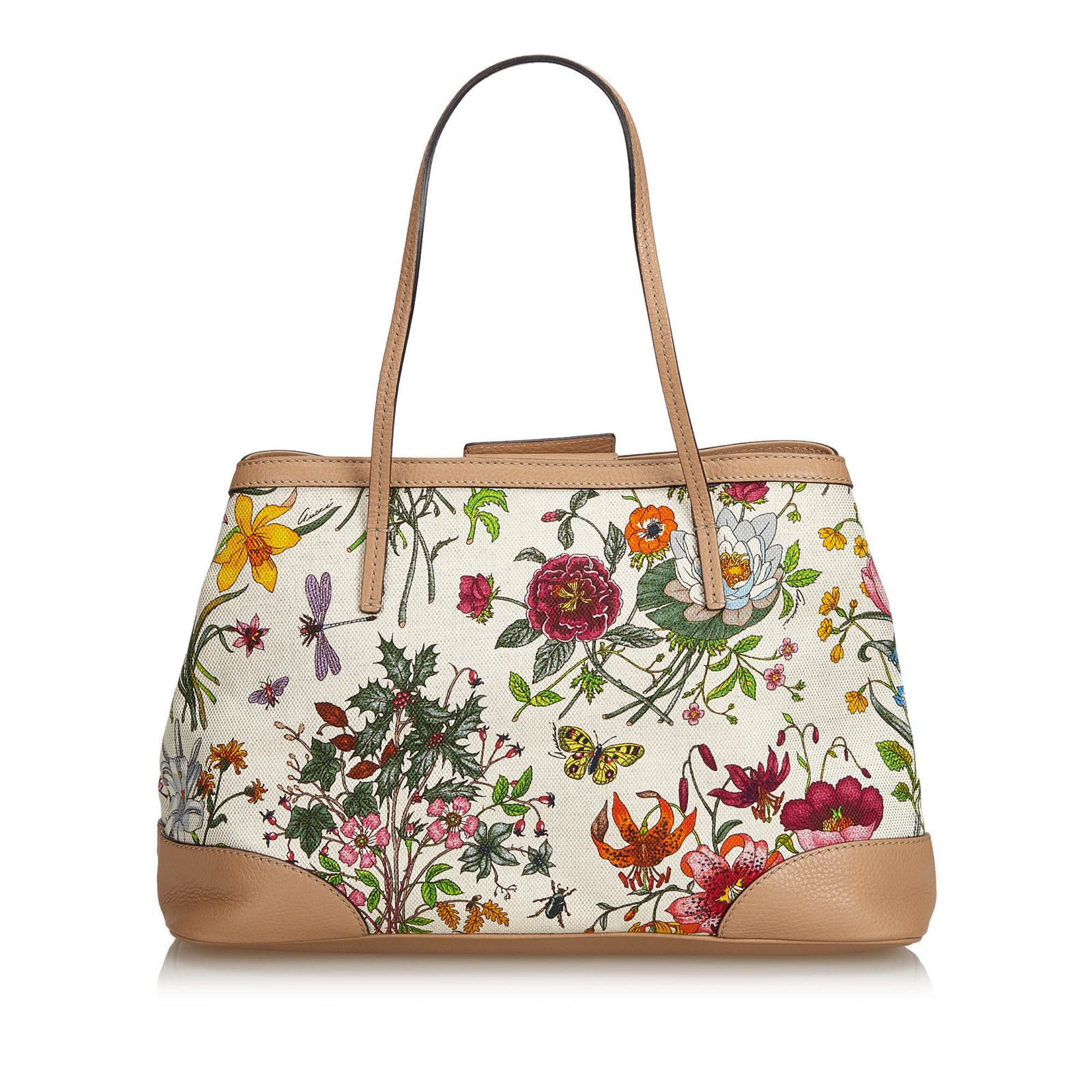 1fbf4f4617d1 Gucci Canvas Floral Tote Bag Totes Leather,Other,Cloth,Cloth White,Multiple  colors ref.102263 - Joli Closet