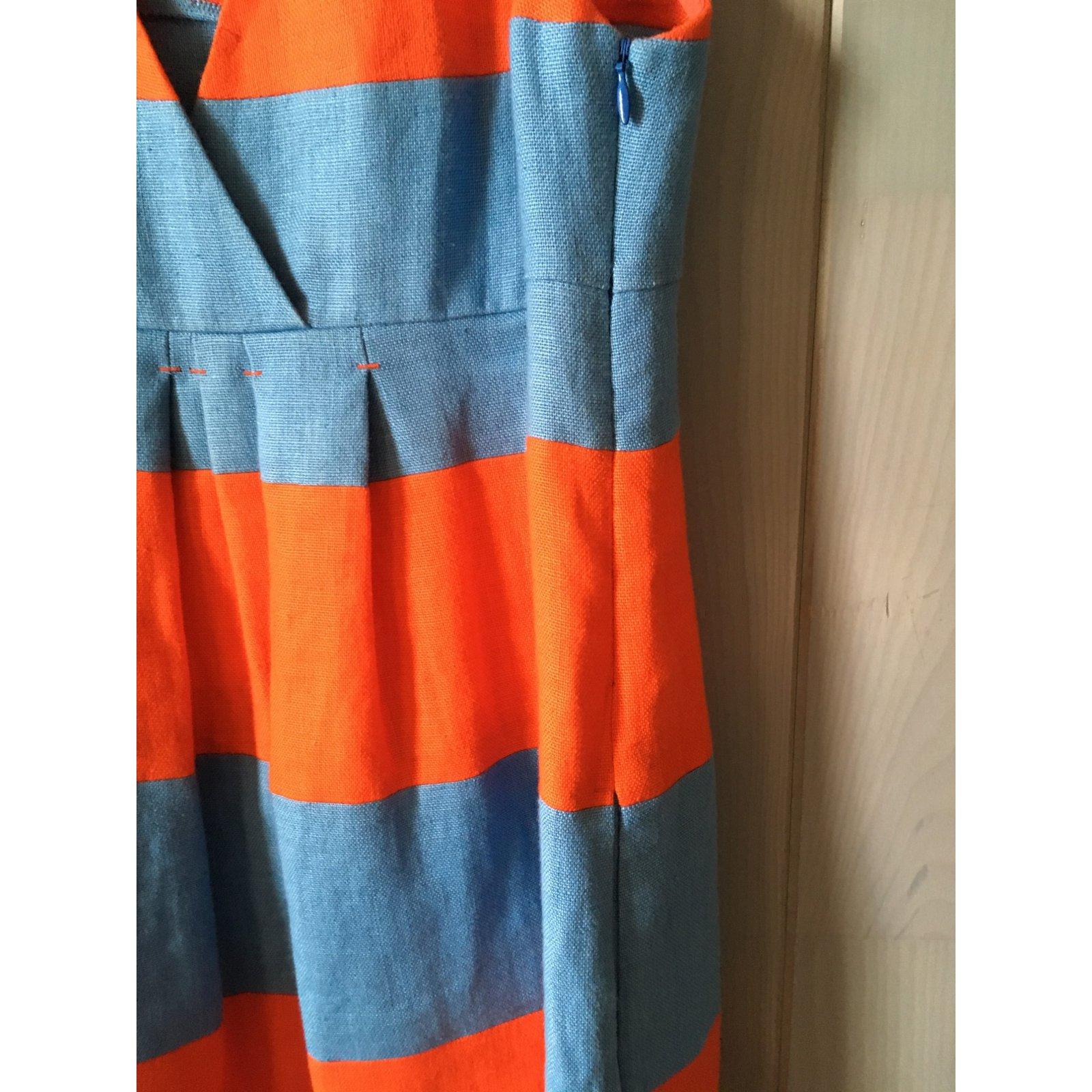 a21e36cd208 Sonia By Sonia Rykiel Sonia Rykiel orange and blue striped linen dress  Dresses Linen Blue