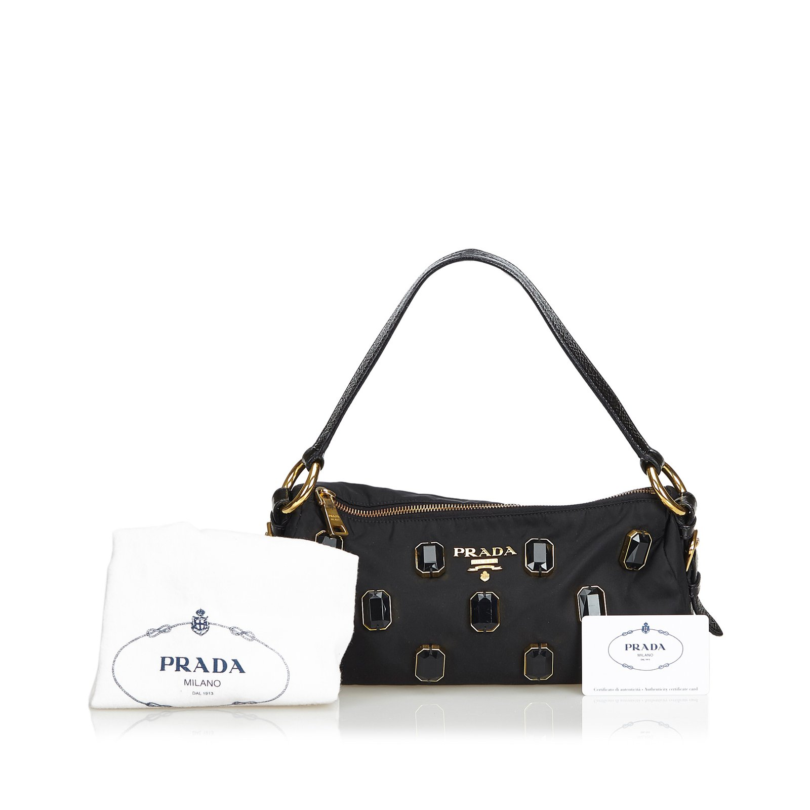 6fad78c7d4fe Prada Jewel-Embellished Nylon Baguette Handbags Leather,Patent leather,Nylon,Cloth  Black,Golden ref.103270 - Joli Closet