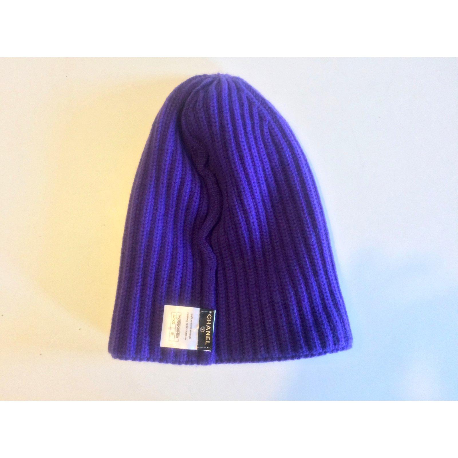 Chapeaux Chanel Bonnet Chanel 100% cachemire Cachemire Violet ref.104634 ,  Joli Closet