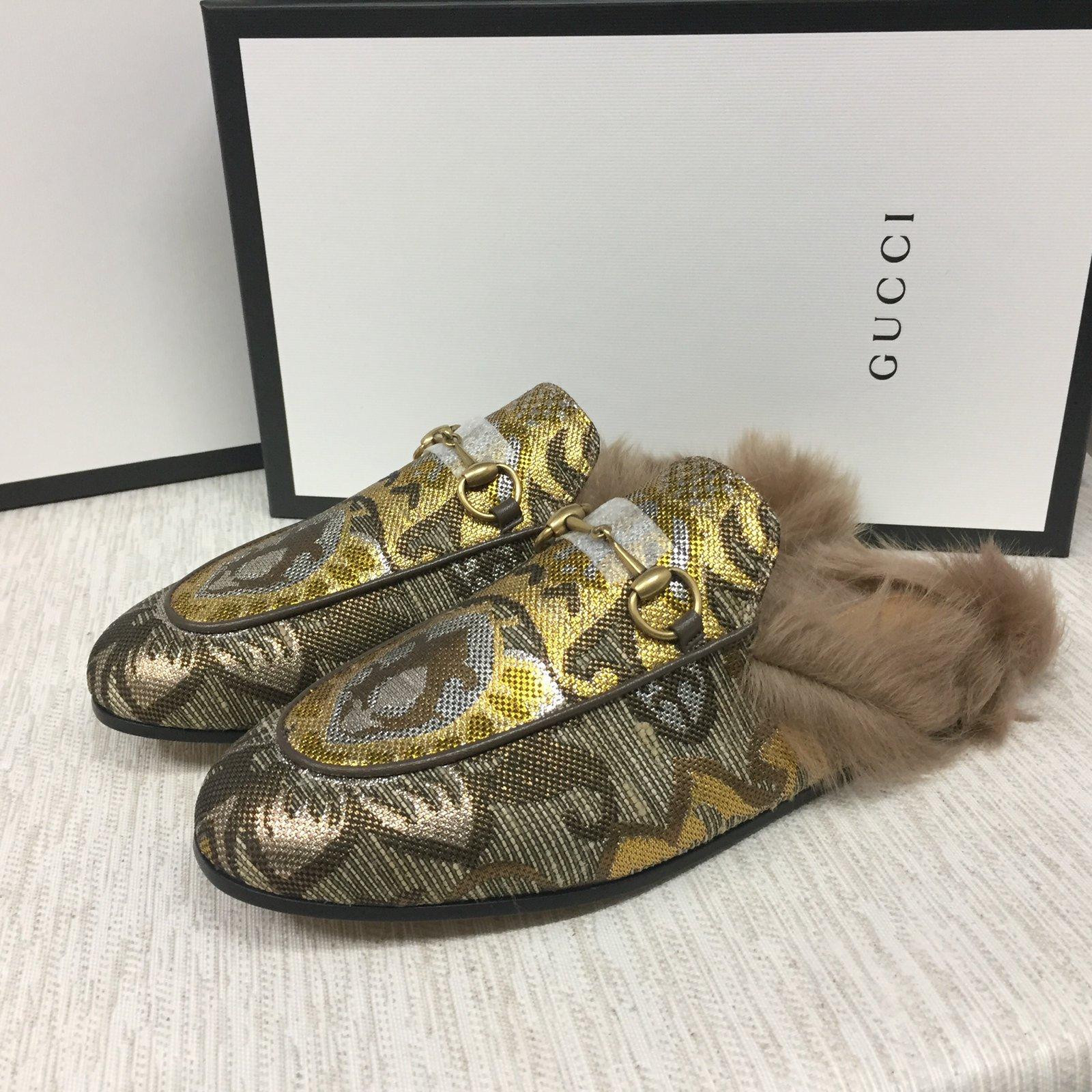 3ed4fb4ae7a Gucci Princeton fur Mules Leather Bronze ref.105132 - Joli Closet