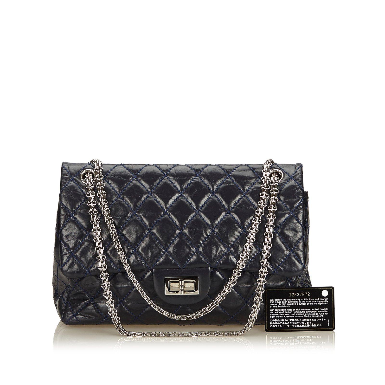 9954167d8f55 Chanel Surpique Reissue lined Flap Bag Handbags Leather,Other Blue,Navy  blue ref.105333 - Joli Closet