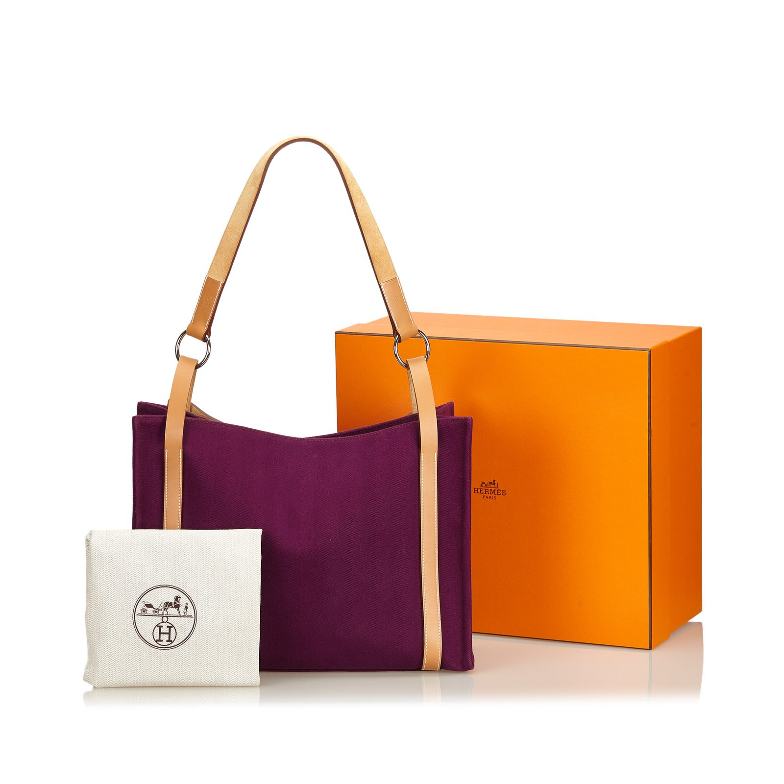 c968cc8ee Hermès Cabalicol Canvas Tote Bag Totes Leather,Other,Cloth Brown,Purple  ref.99615 - Joli Closet