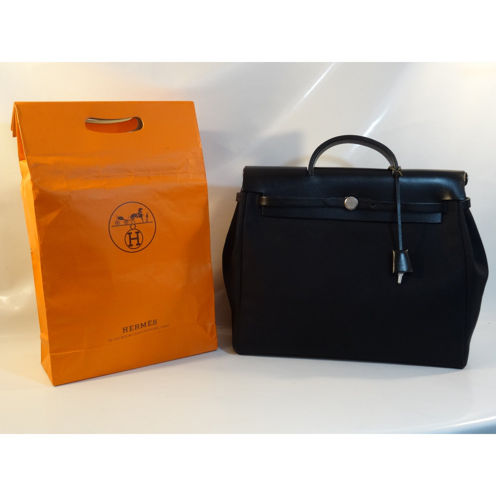 Noir 99686 Sacs Autre Sac Main Herbag toile À Ref Hermès Hermes Ybf7gm6yIv