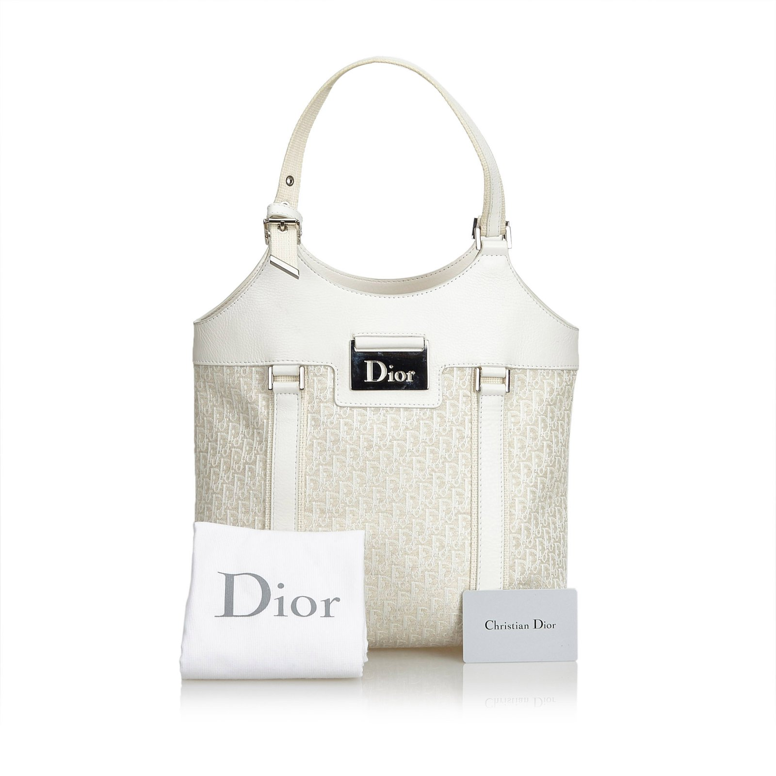 987d905bfda Dior Oblique Jacquard Tote Bag Totes Leather,Other,Cloth Brown,White ...