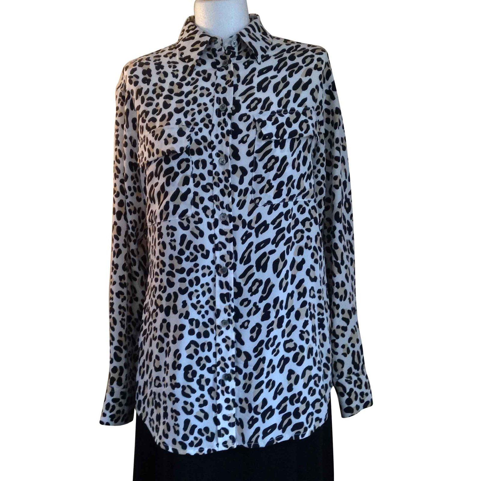 fbdd4f5c338ce3 Equipment Leopard-print Silk Blouse Tops Silk Leopard print ref.105666 -  Joli Closet