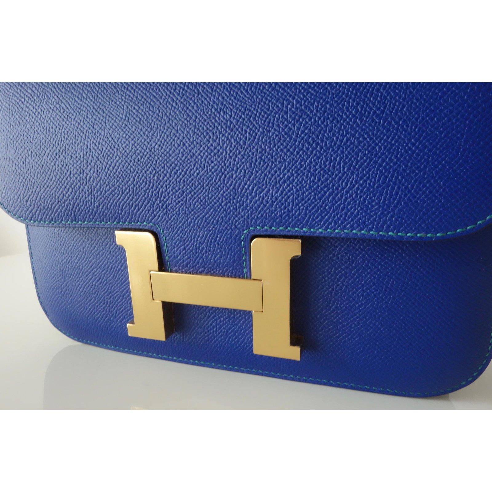 À Main Hermes Sacs Sac bleu Constance Cuir Bleu Hermès 24 Bicolore D9IWEH2