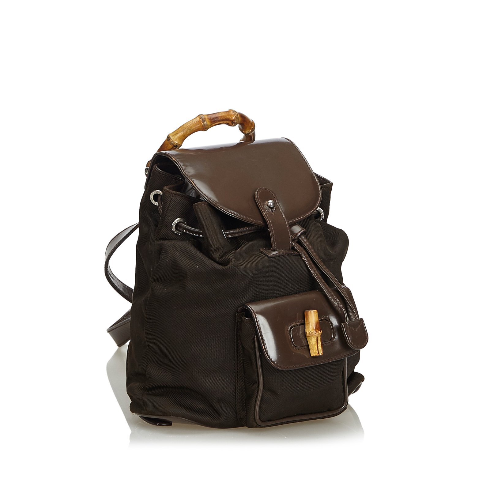 4b634e788bb Gucci Nylon Bamboo Backpack Backpacks Leather