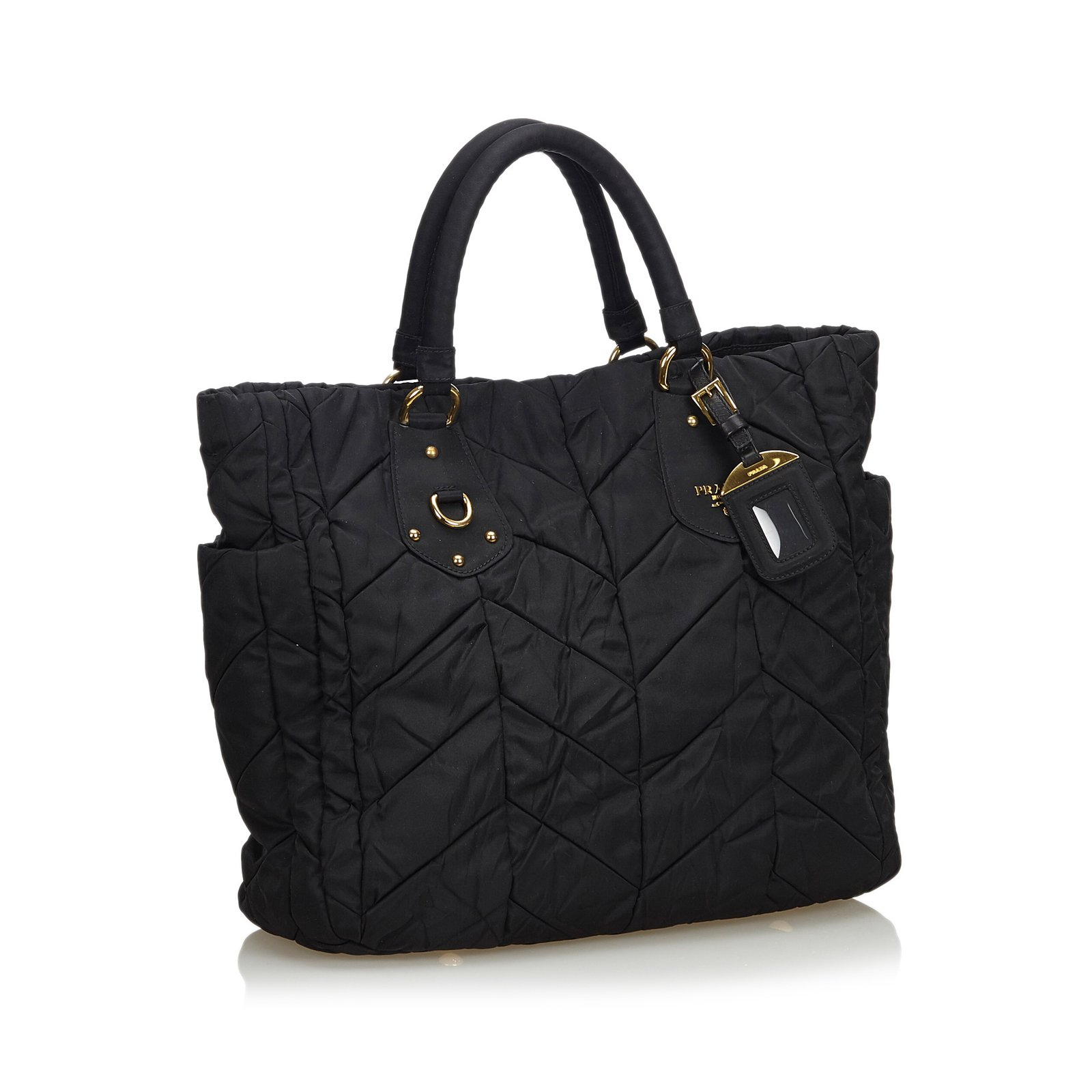 df5bcda3bcbc Prada Nylon Tote Bag Handbags Leather,Other,Nylon,Cloth Black ref ...