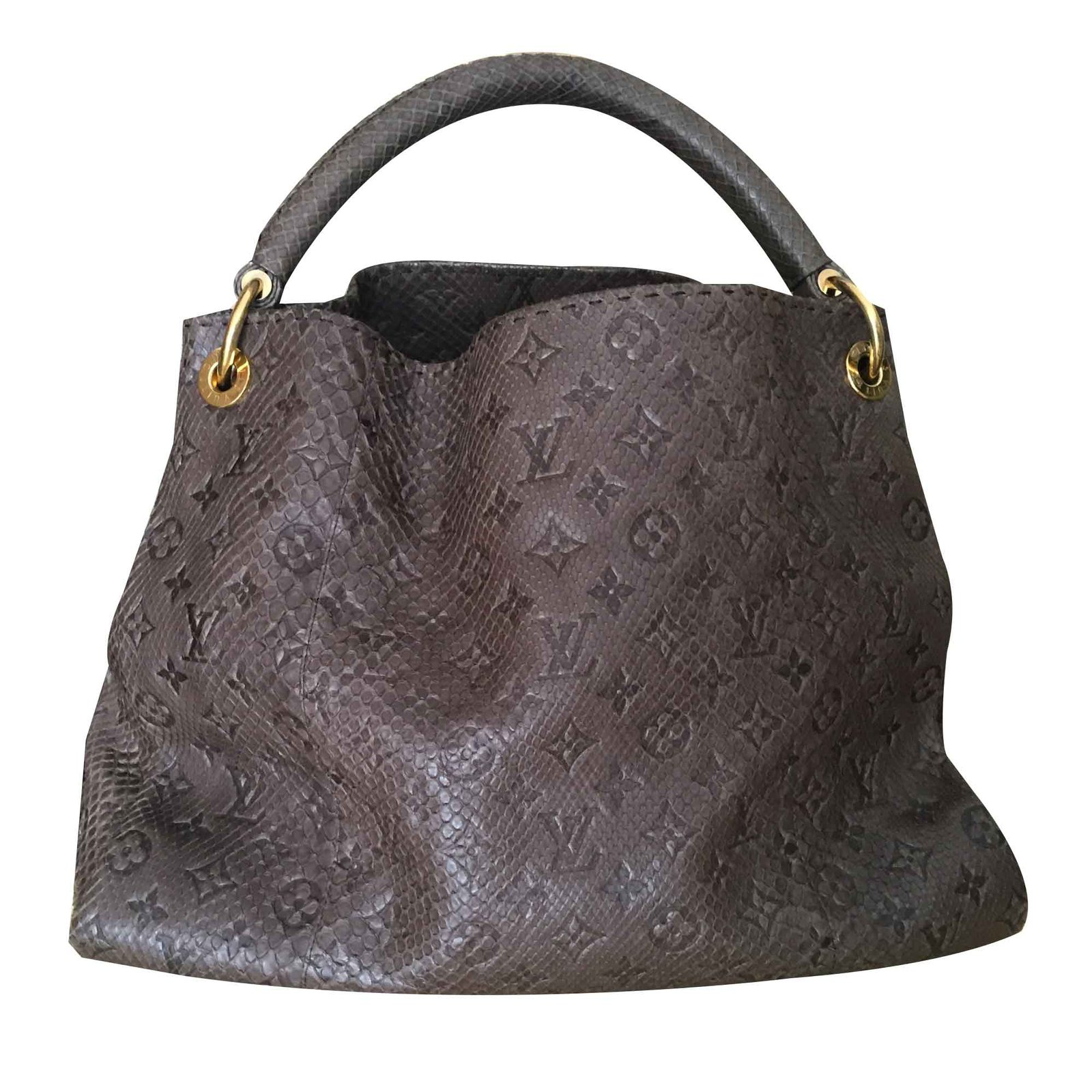 67608fa1d507 Louis Vuitton Louis Vuitton Gris Brown Monogram Python Artsy MM ...