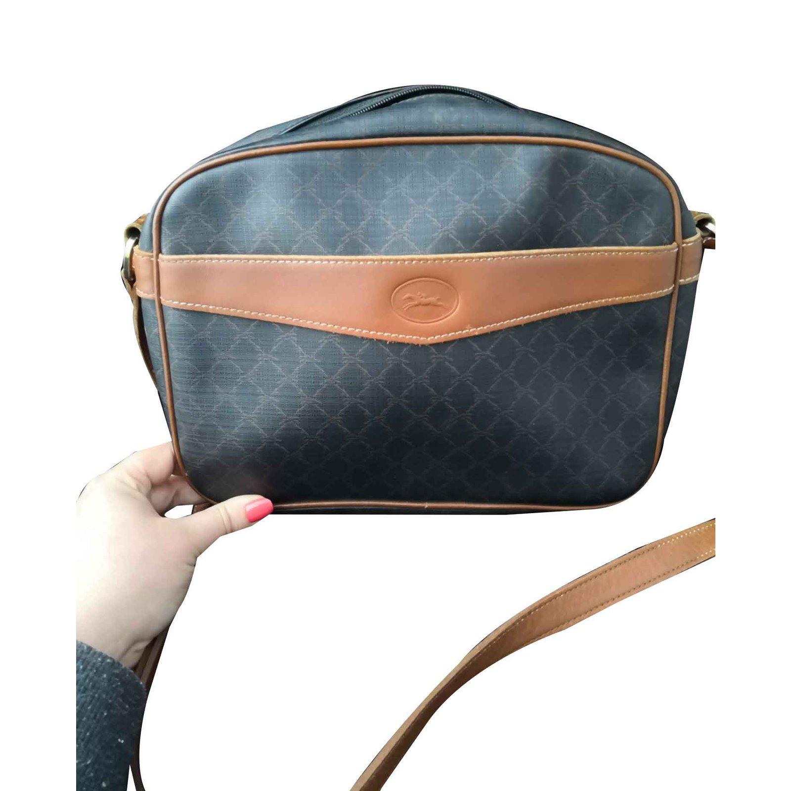 tela pelle in Borse Longchamp vintage nera abbastanza Borsa xqtqY7EwR