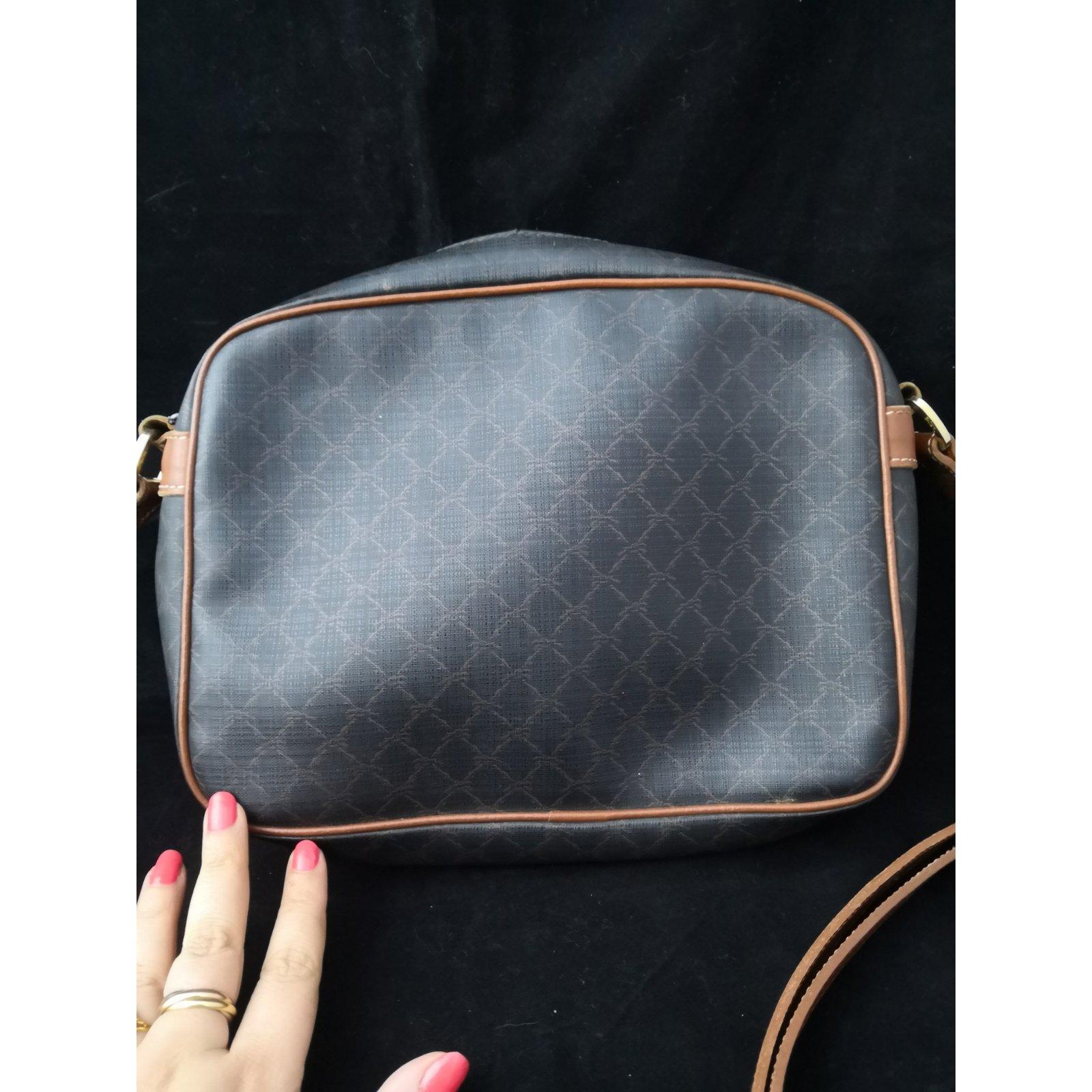 Vintage Longchamp gris Joli Ref 107821 Cuir Noir Sacs Closet À Sac Main toile caramel RnZXZ