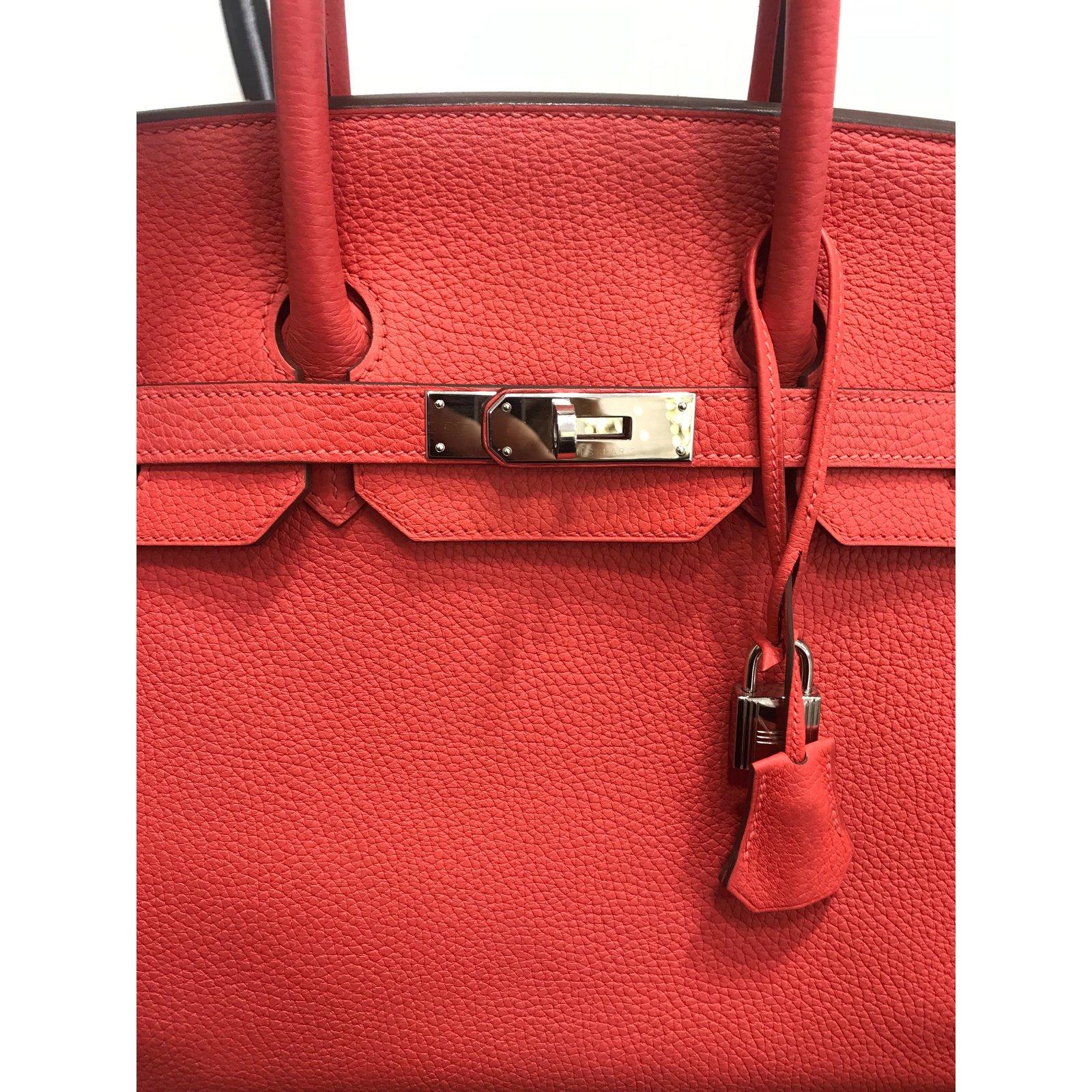 5b4ec3b1f026 Hermès HERMES BIRKIN 35 Handbags Leather Coral ref.108331 - Joli Closet