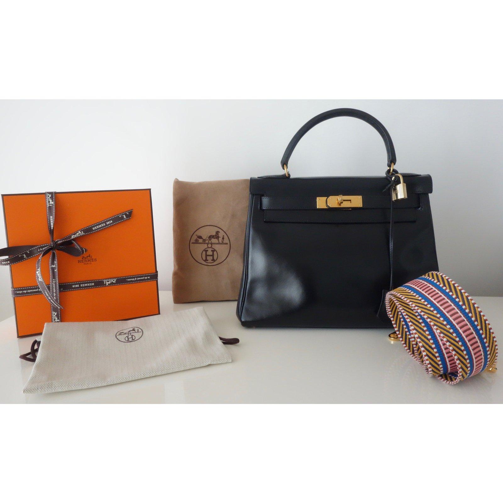 63c5426bd442 Hermès Vintage Hermes Kelly bag 28 Handbags Leather Black ref.108345 - Joli  Closet