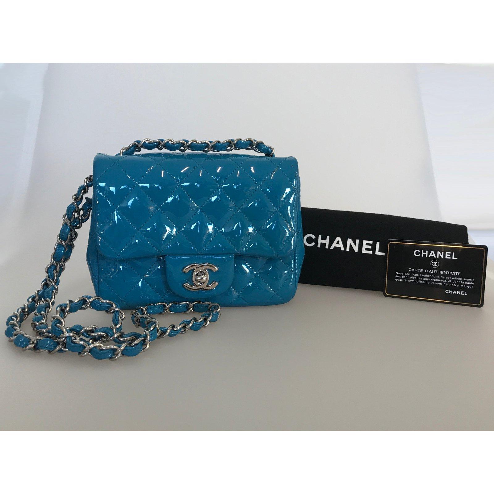 e85af496ce3f Chanel With card! Mini square flap bag timeless Handbags Patent leather Blue,Light  blue,Turquoise ref.108996 - Joli Closet