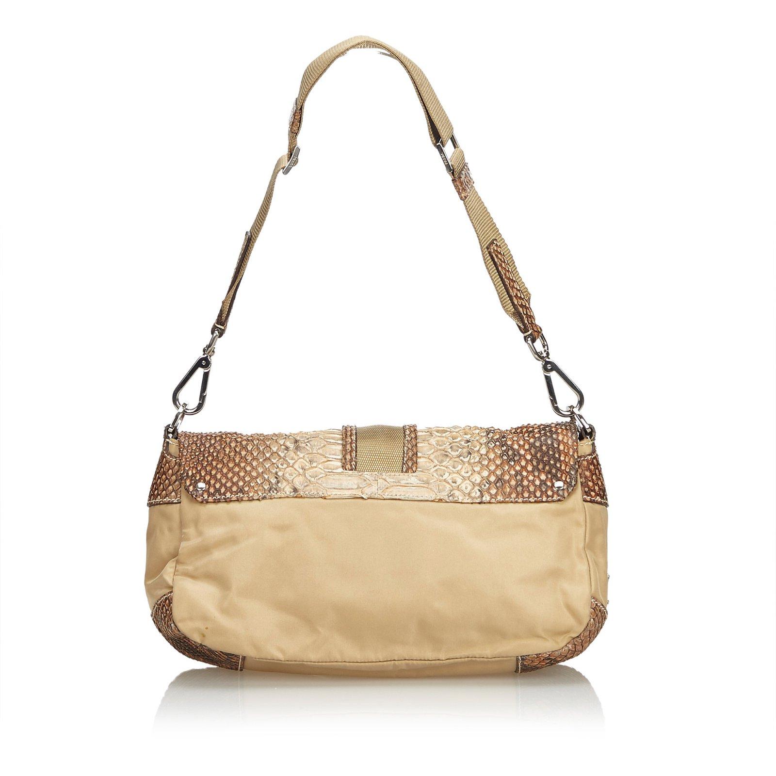 5025b00ce598 Prada Python Shoulder Bag Handbags Leather,Nylon,Cloth,Python Brown,Beige  ref.109956 - Joli Closet