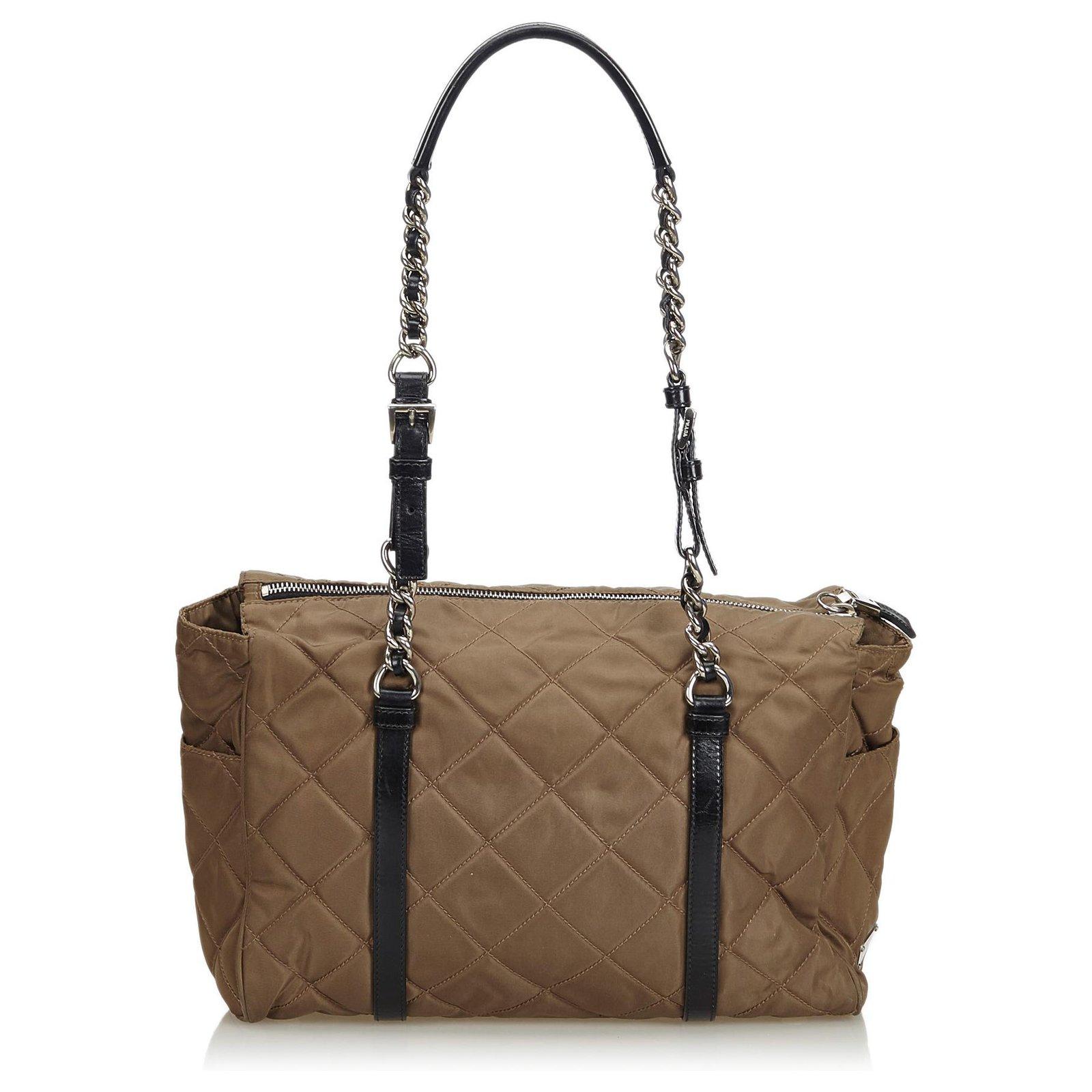 15717e7bc01c Prada Quilted Tessuto Nylon Chain Shoulder Bag Handbags Leather ...