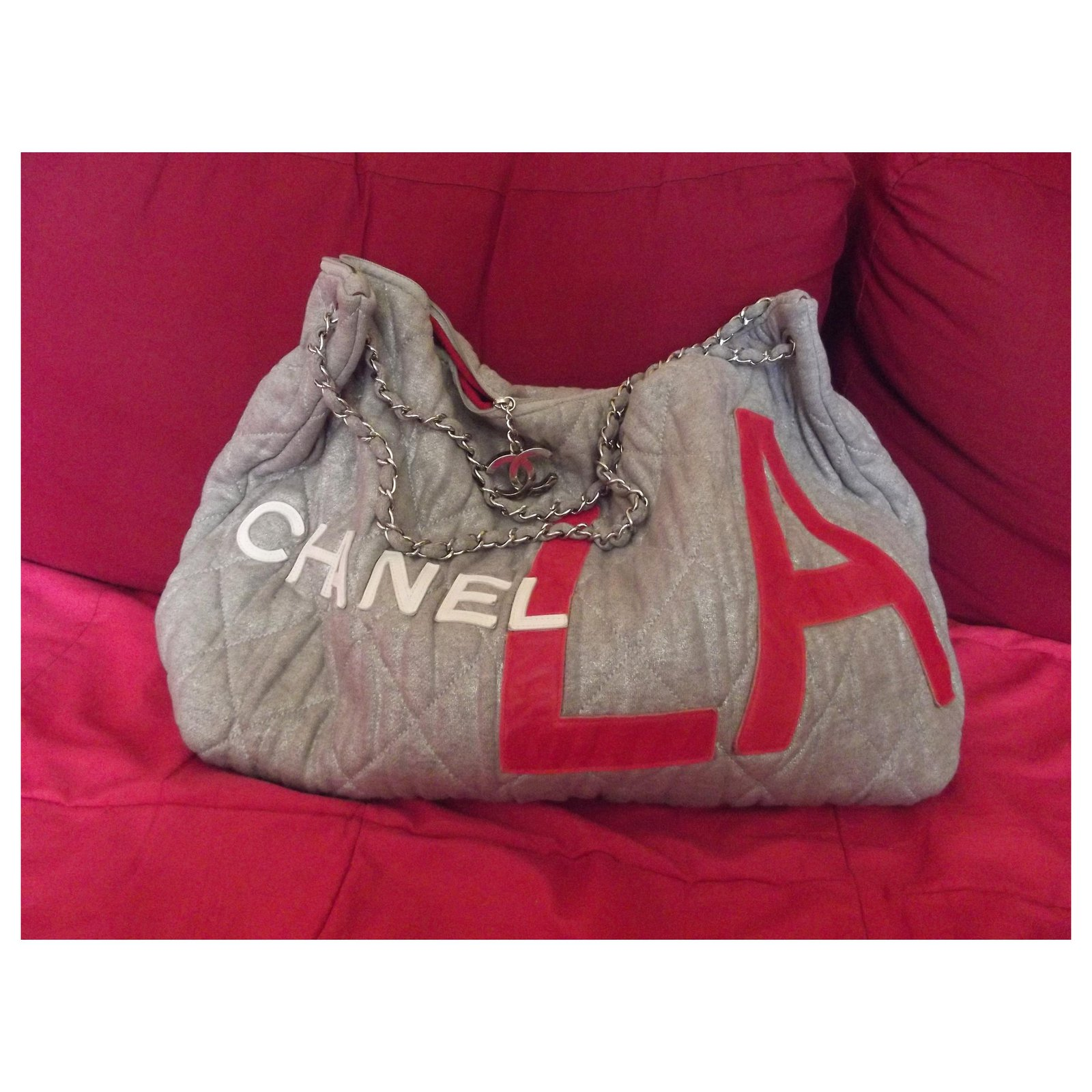 00be7a18814f5d Chanel Paris-Los Angeles Handbags Cloth Grey ref.113141 - Joli Closet