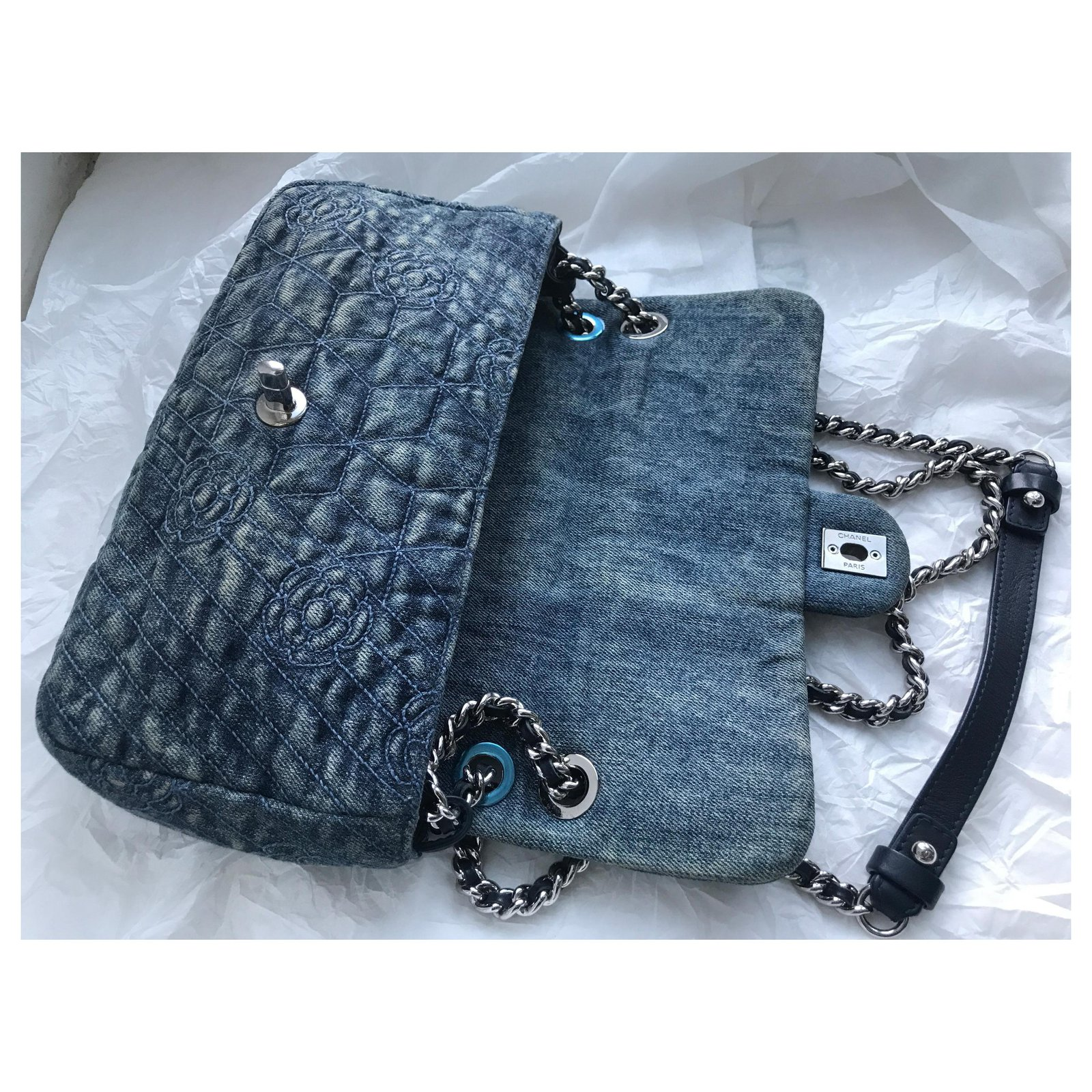 34c5df8a5080 Facebook · Pin This. Chanel Crossbody denim flap bag Handbags Leather ...