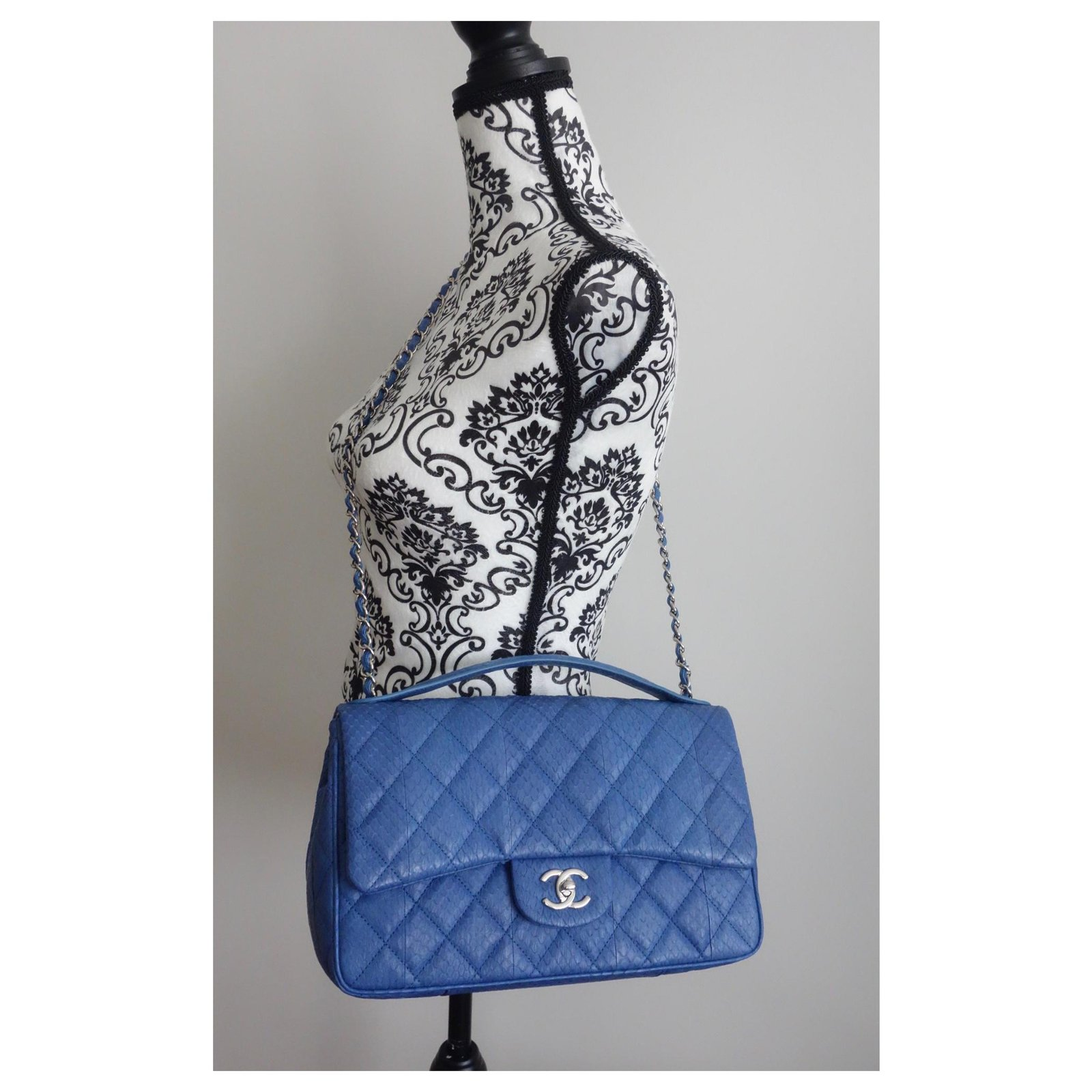 8f09f6414cd383 Facebook · Pin This. Chanel BAG CHANEL LEATHER EXOTIC GM Handbags Exotic  leather Blue ...