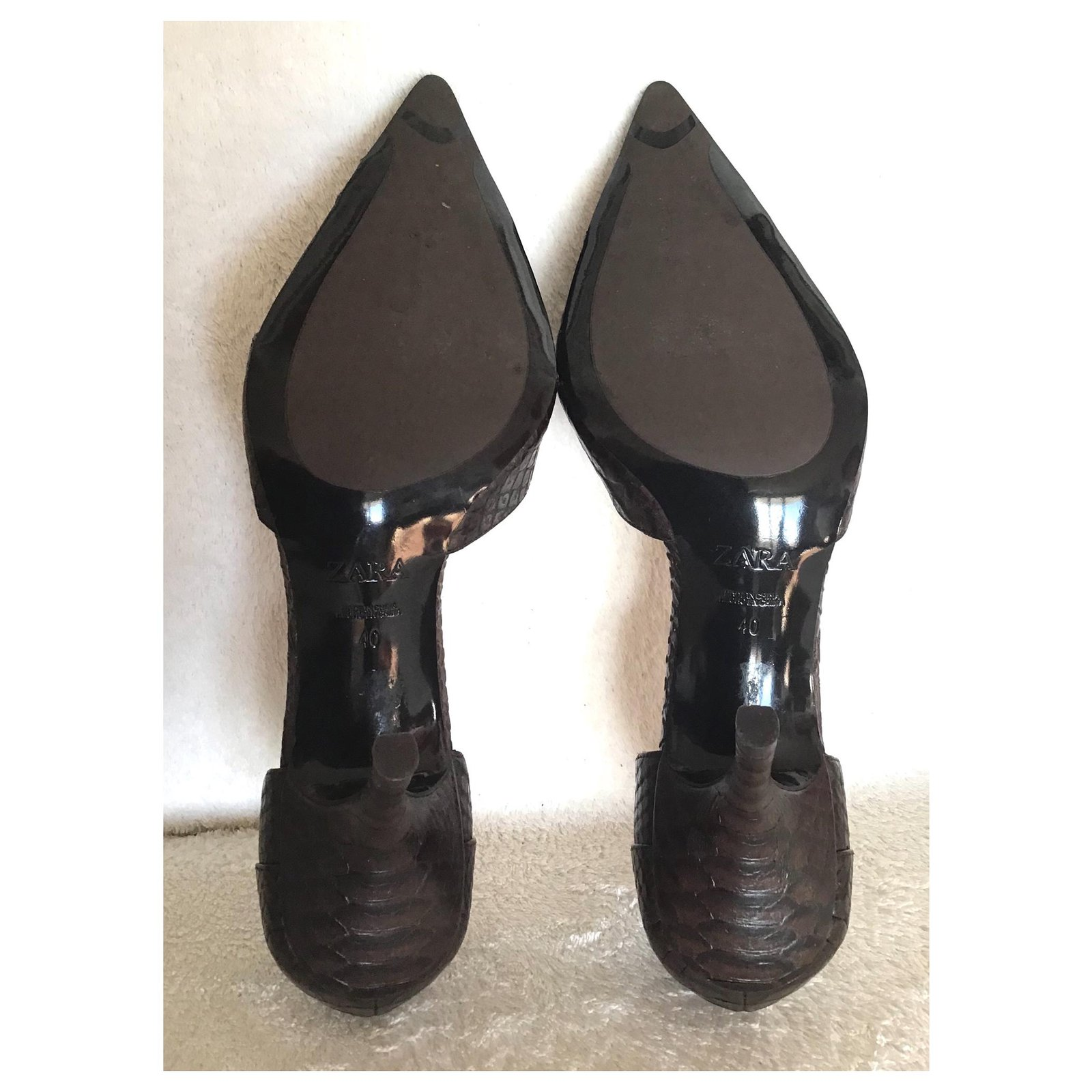 70633a71481 Zara Heels Heels Leather Brown ref.115625 - Joli Closet