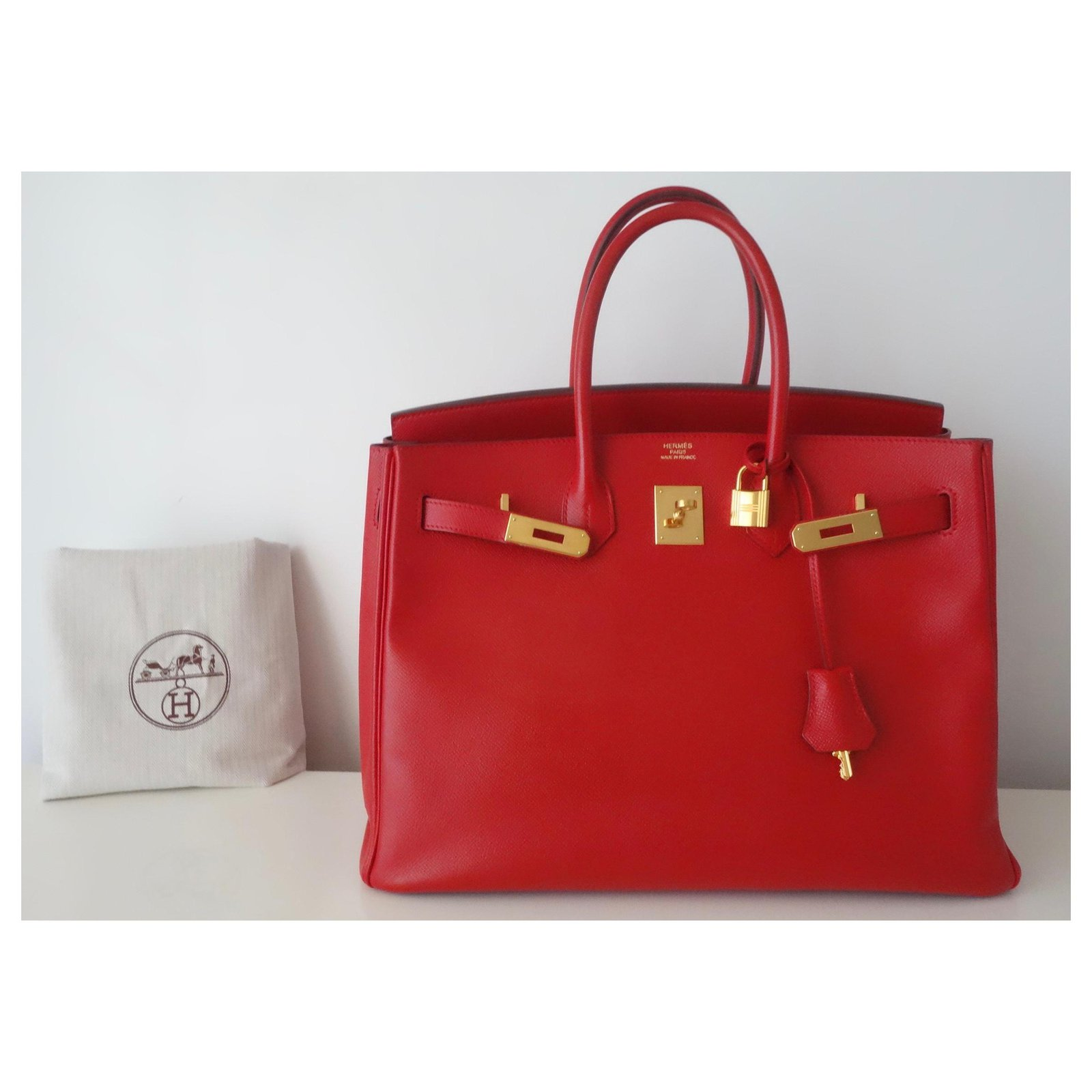 b4405f417a Hermès HERMES BIRKIN BAG 35 Red Handbags Leather Red ref.116429 ...