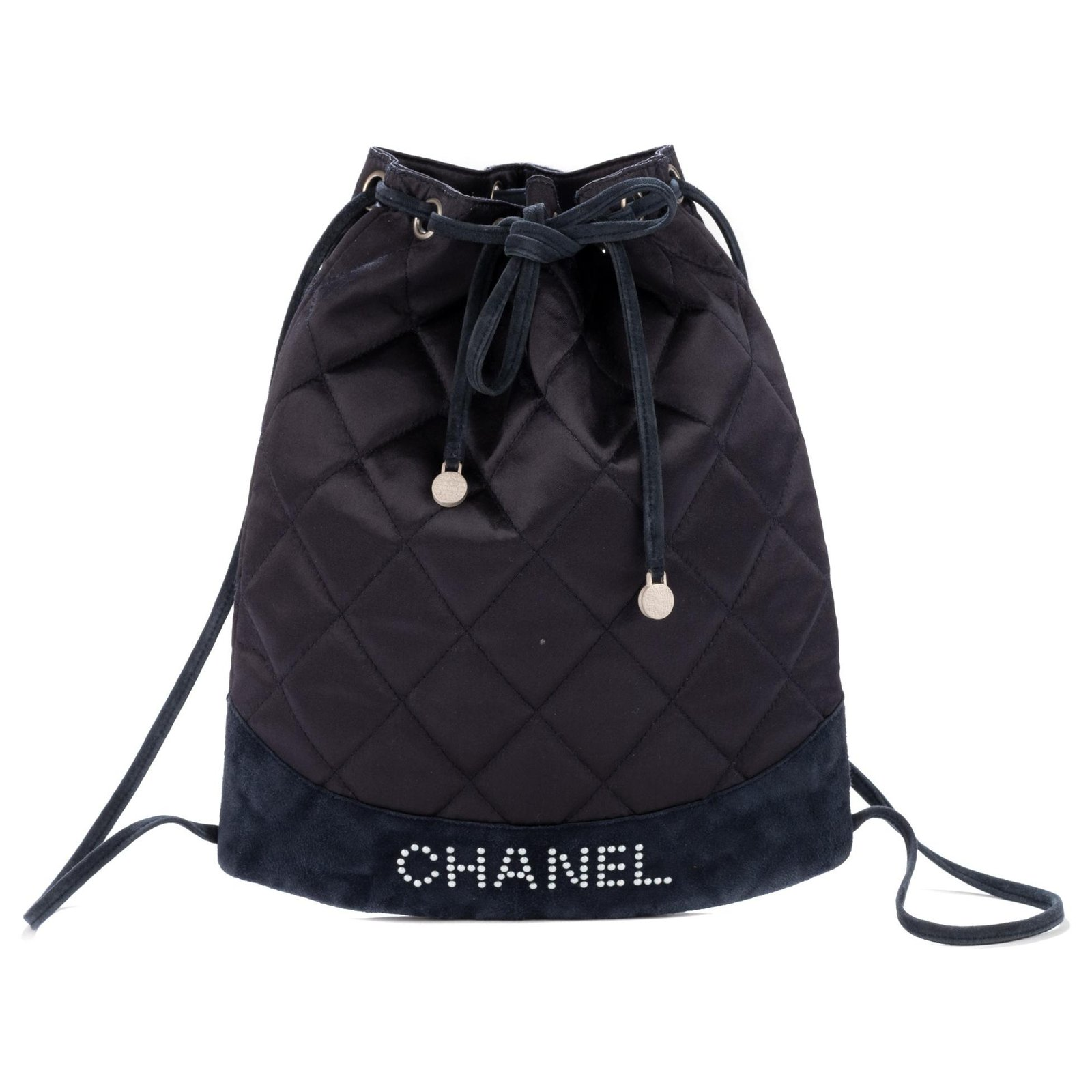 12d6aef89c1679 Chanel, Chanel backpack in satin and navy suede, Chanel logo in pearls,  good condition !