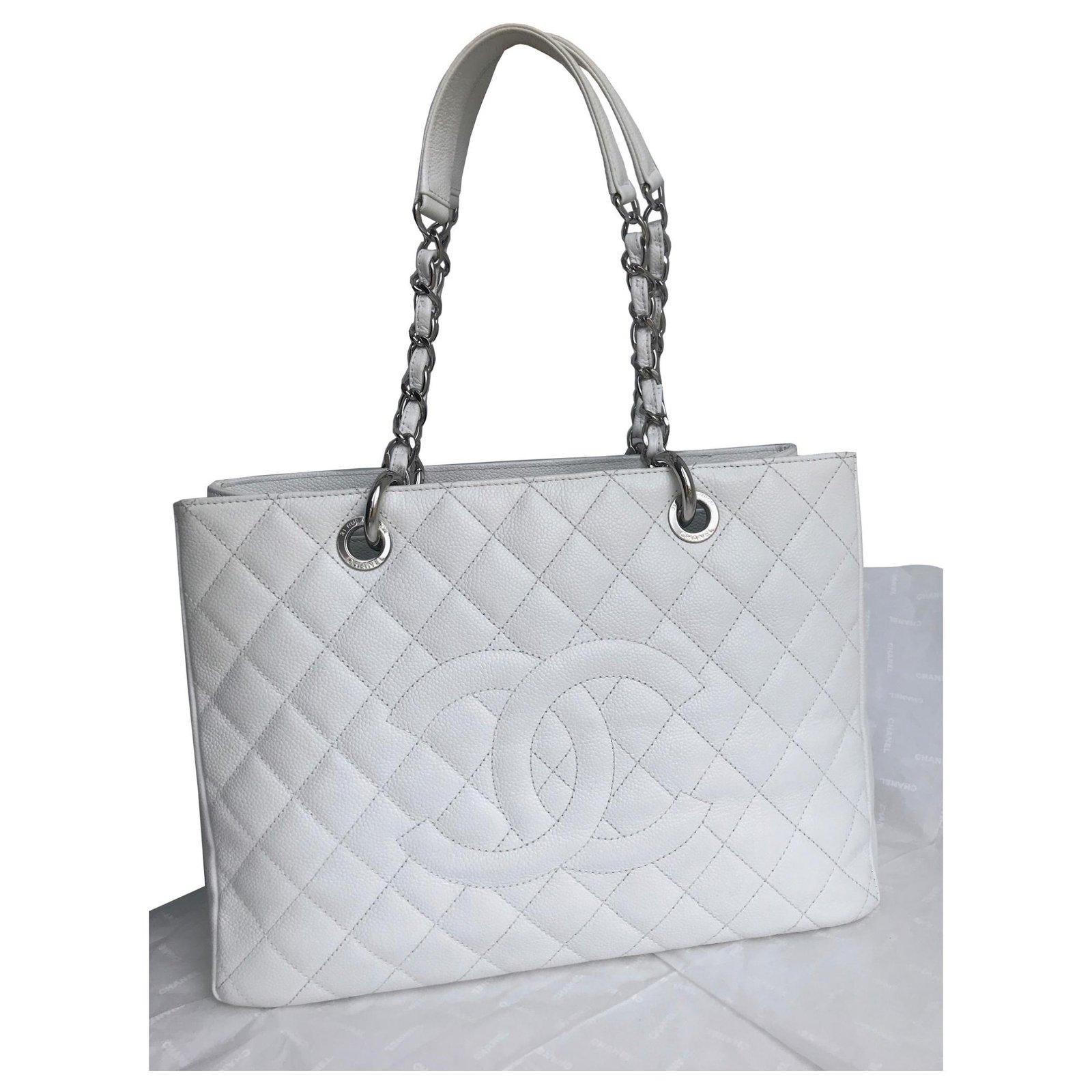 4fcc07b34816 Chanel GST Grand Shopping Tote 34cm in caviar leather Handbags Leather White  ref.118450 - Joli Closet