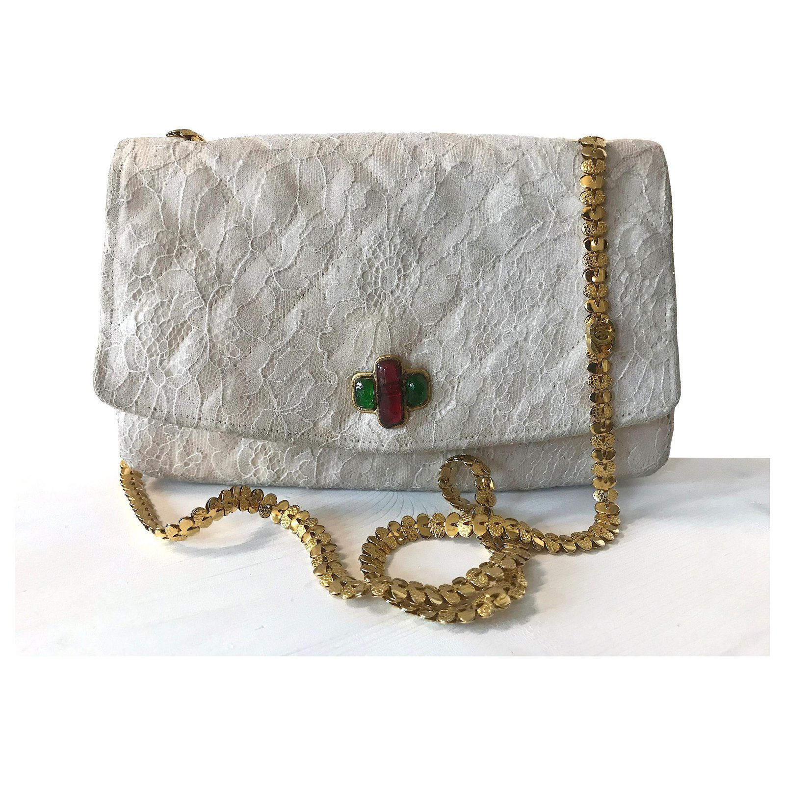 e19d57965d49 Chanel Gripoix crystals flap vintage bag Handbags Silk,Lace Beige,Cream  ref.119623 - Joli Closet