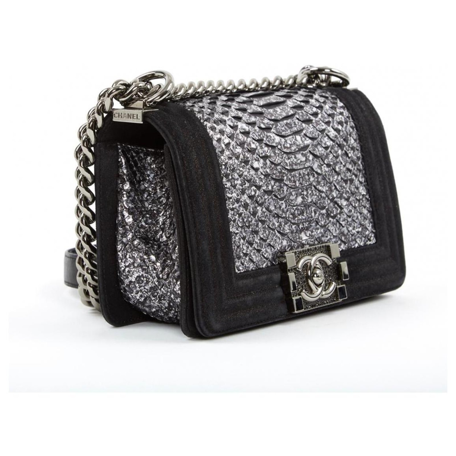 4633bcf890c139 Chanel CHANEL BOY PYTHON RARE! Handbags Exotic leather,Python Black,Silvery  ref.120421 - Joli Closet
