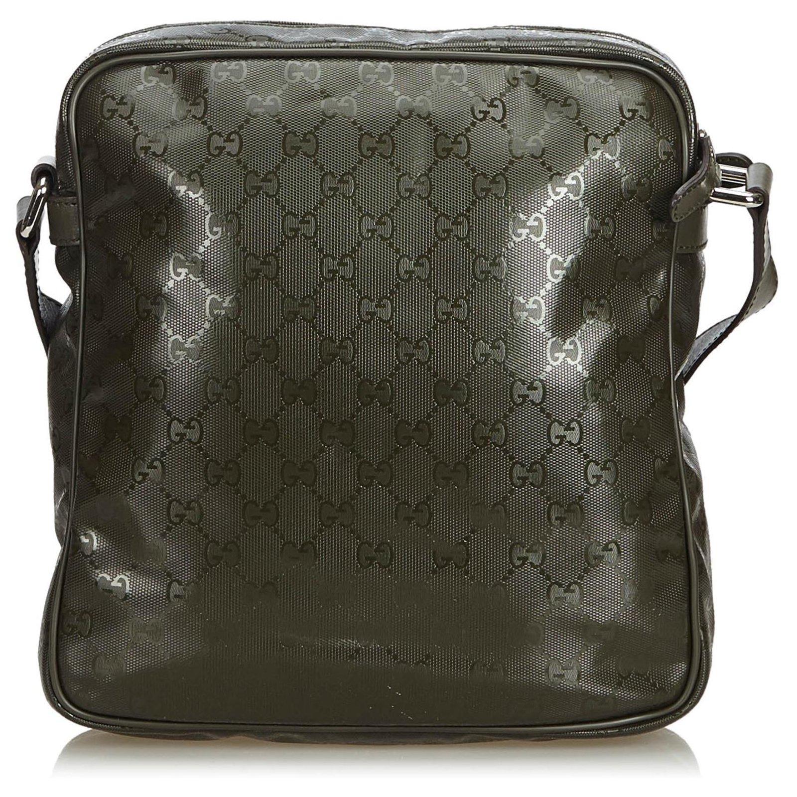 77f97885001f Gucci Gucci Black GG Imprime Crossbody Bag Handbags Leather,Other,Plastic  Black ref.120525 - Joli Closet