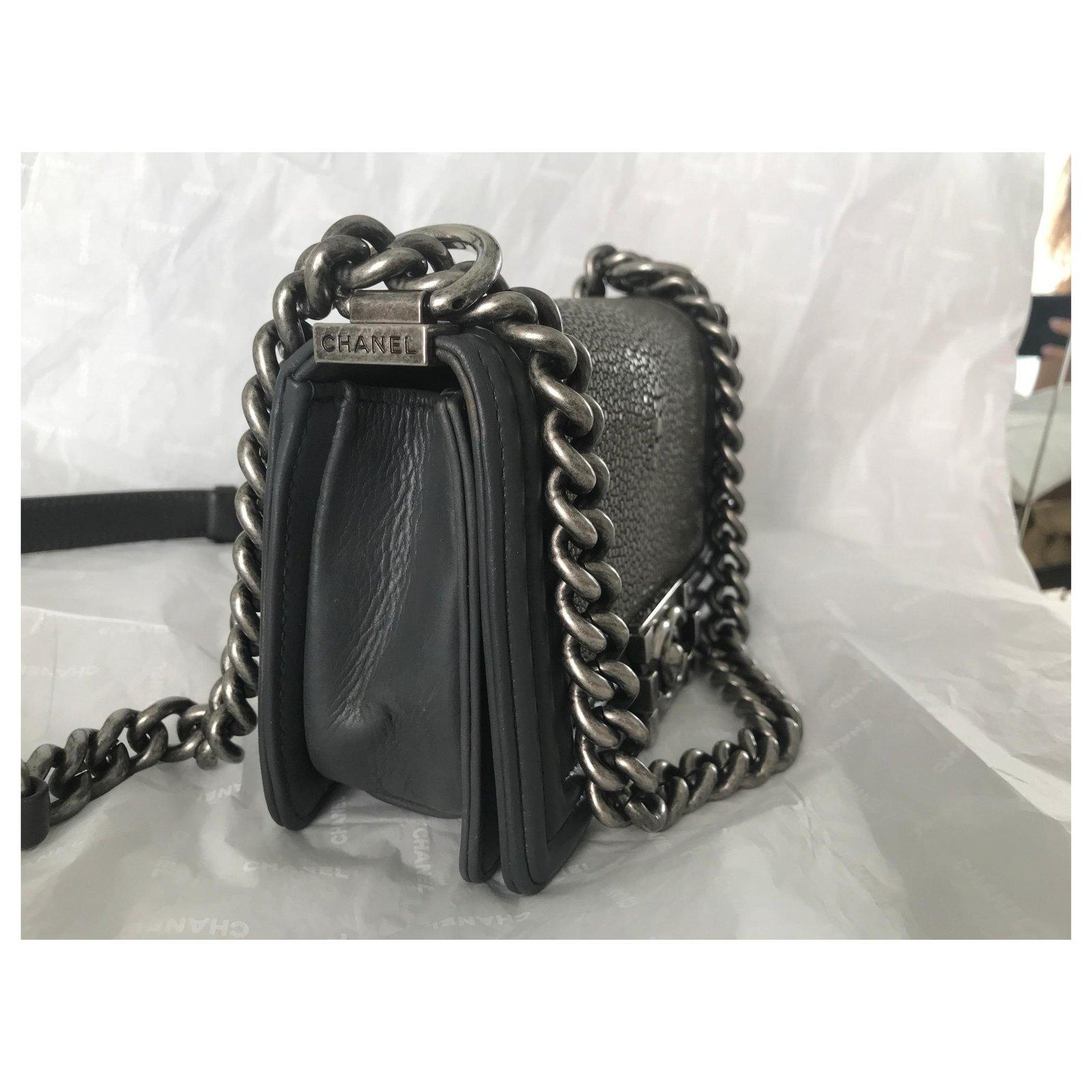 5cbd906421029f Chanel Stingray Boy Small Flap Bag Limited edition Handbags Leather,Exotic  leather Grey,Dark grey ref.120667 - Joli Closet