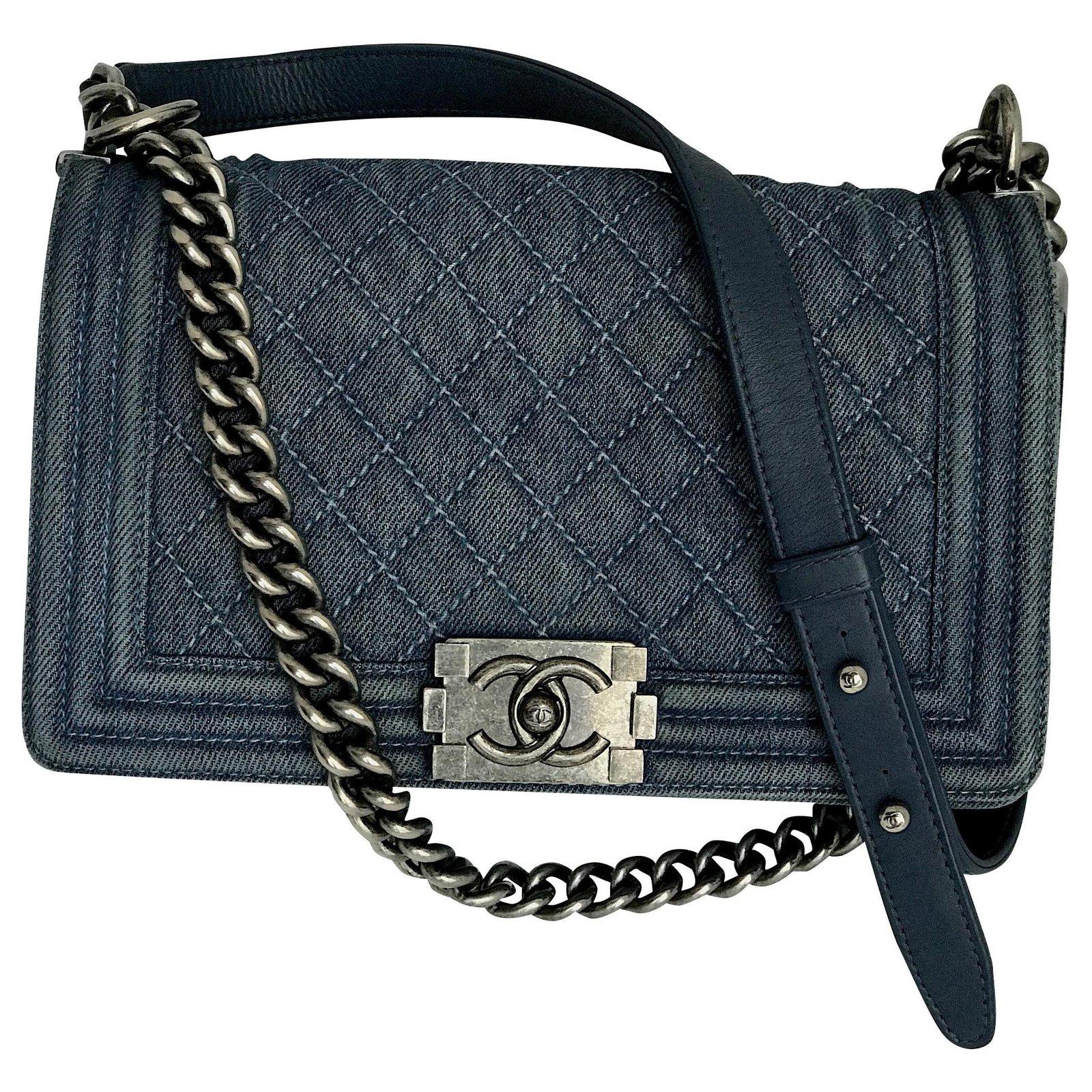 e0c904aa521e Chanel Rare Boy Medium Denim Bag Handbags Leather,Denim Blue ref ...