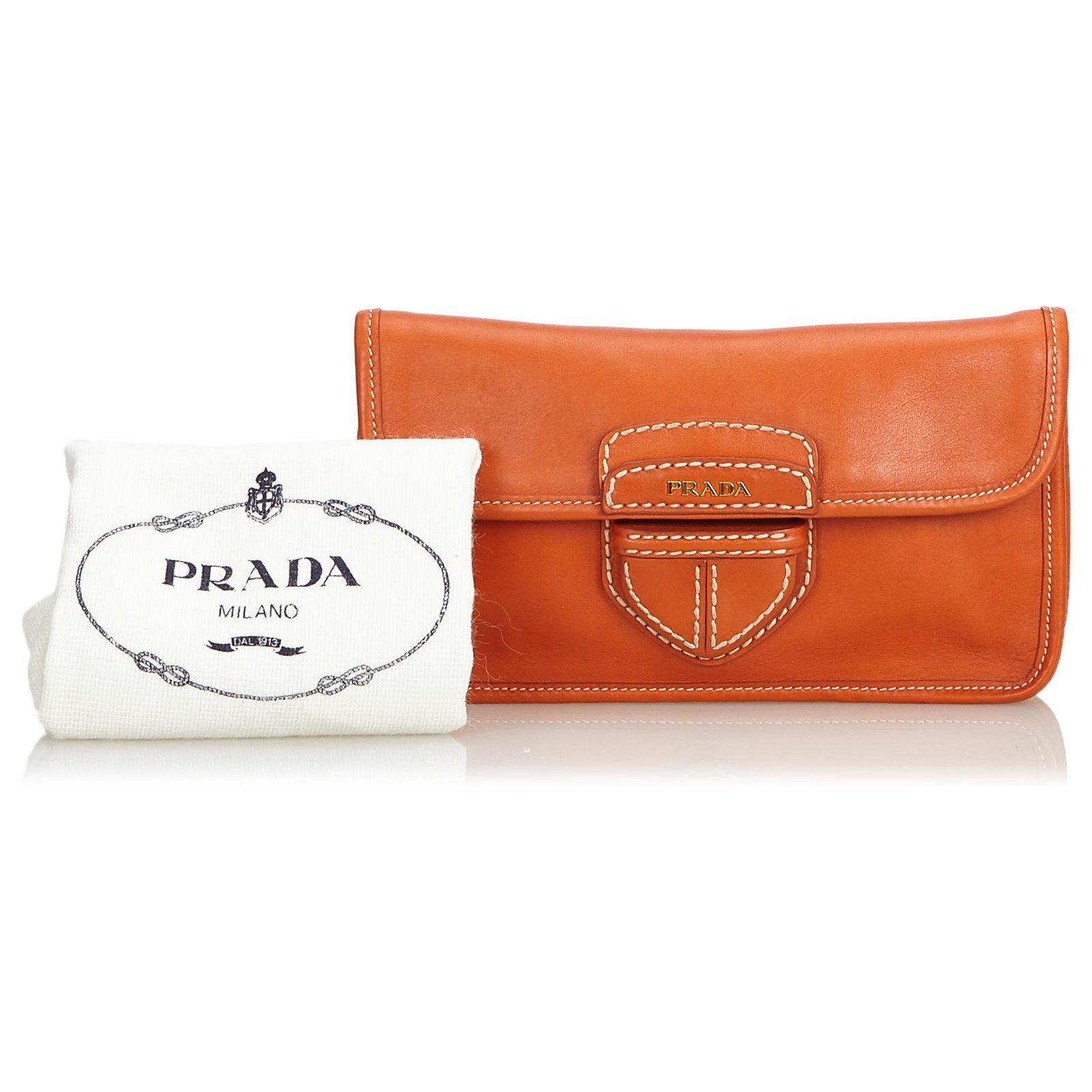 c13069fd0b70 Prada Prada Orange City Clutch Bag Clutch bags Leather,Other Orange  ref.121781 - Joli Closet