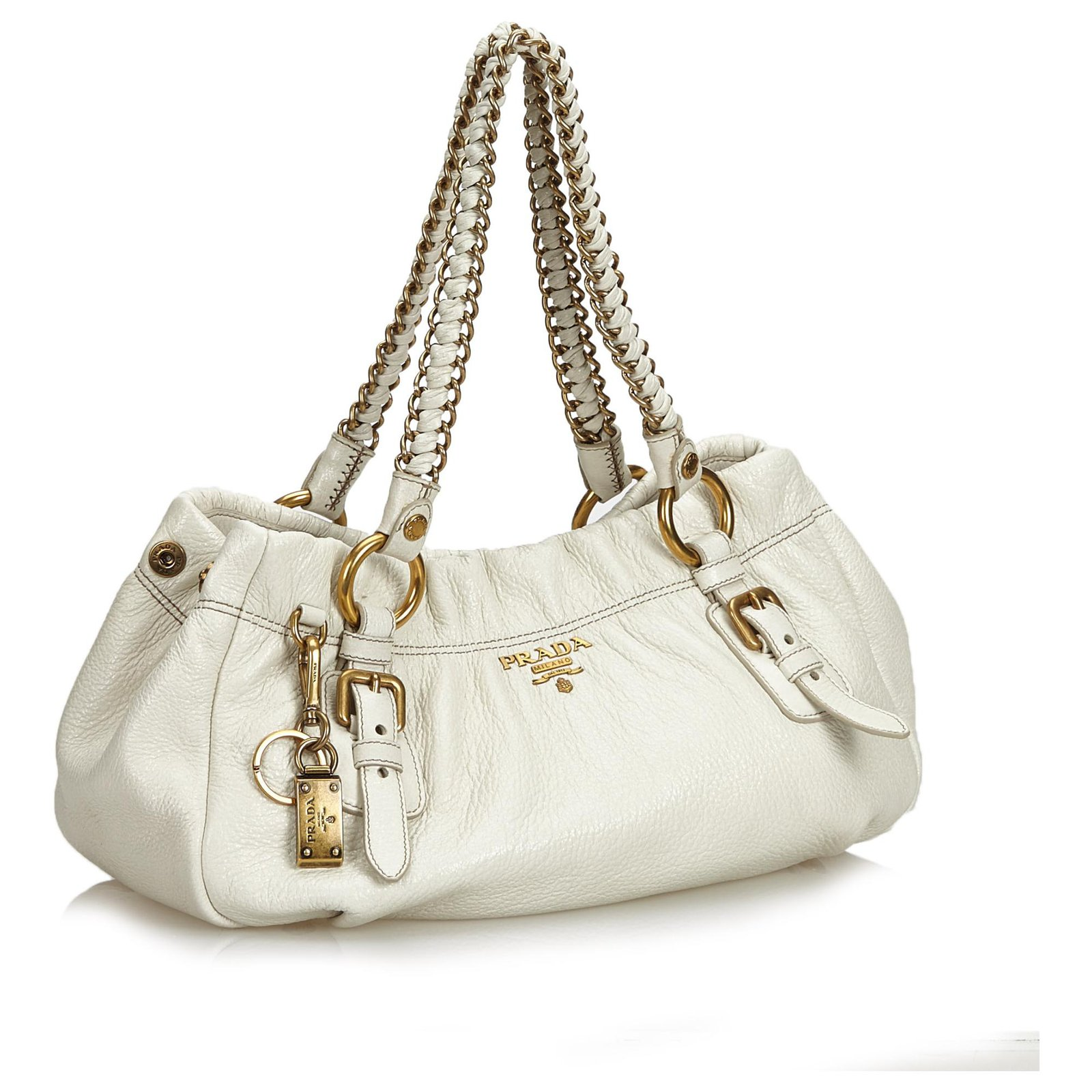 a5a27d8aecc9a7 Prada Prada White Cervo Lux Chain Shoulder Bag Handbags Leather,Other White  ref.122854 - Joli Closet