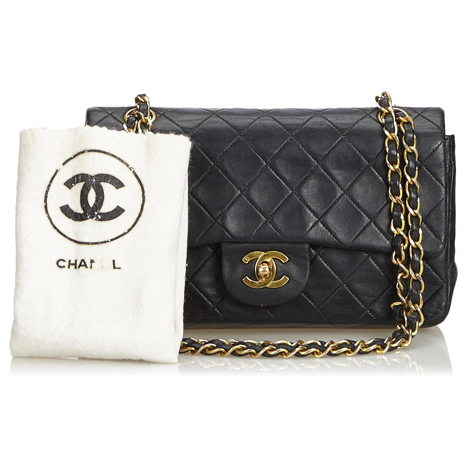 50d3b81ac2ee Chanel Chanel Black Classic Small Lambskin Leather Single Flap Bag Handbags  Leather Black ref.122868 - Joli Closet