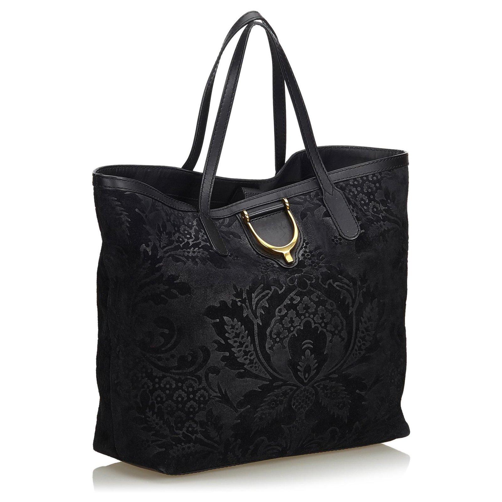 23a9920de Gucci Gucci Black Suede Brocade Stirrup Tote Bag Totes Suede,Leather Black  ref.122883 - Joli Closet