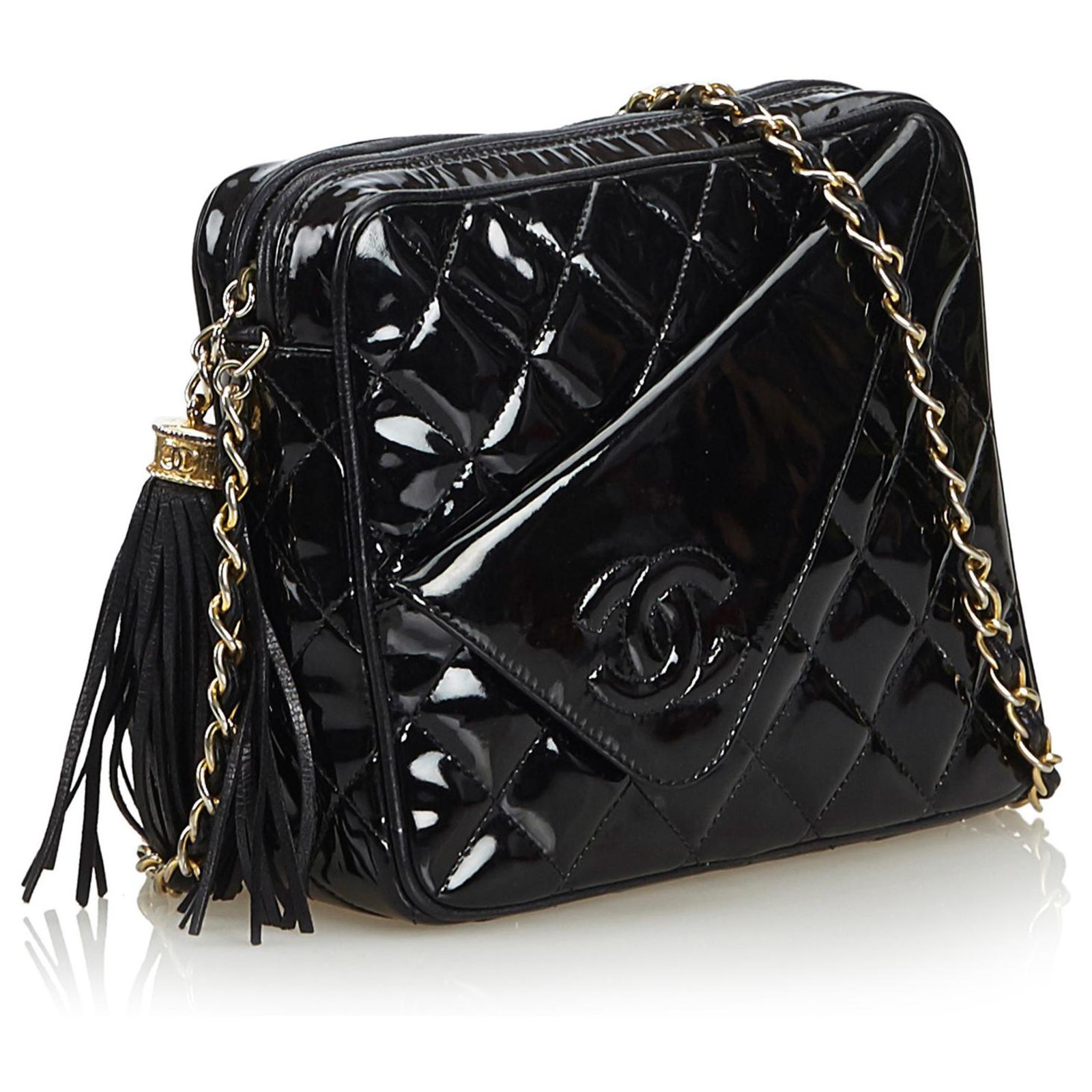 61af8e48aed3 Chanel Chanel Black Patent Leather Quilted Chain Camera Bag Handbags Leather ,Patent leather Black ref.122919 - Joli Closet
