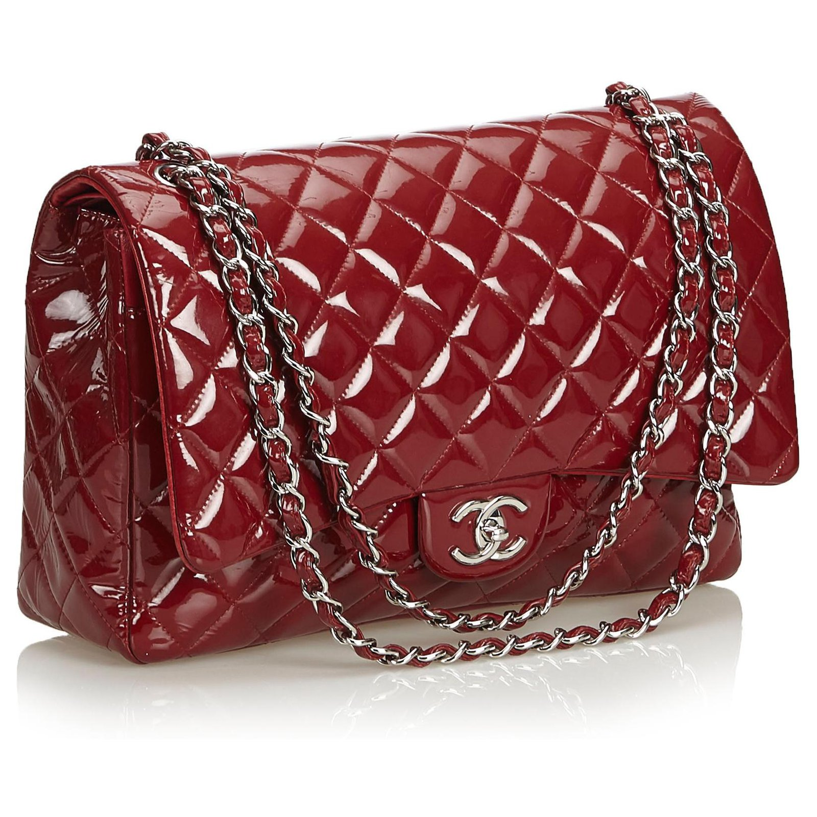 da8a0b598d51 Chanel Chanel Red Classic Maxi Patent Leather lined Flap Bag Handbags  Leather,Patent leather Red ref.122928 - Joli Closet
