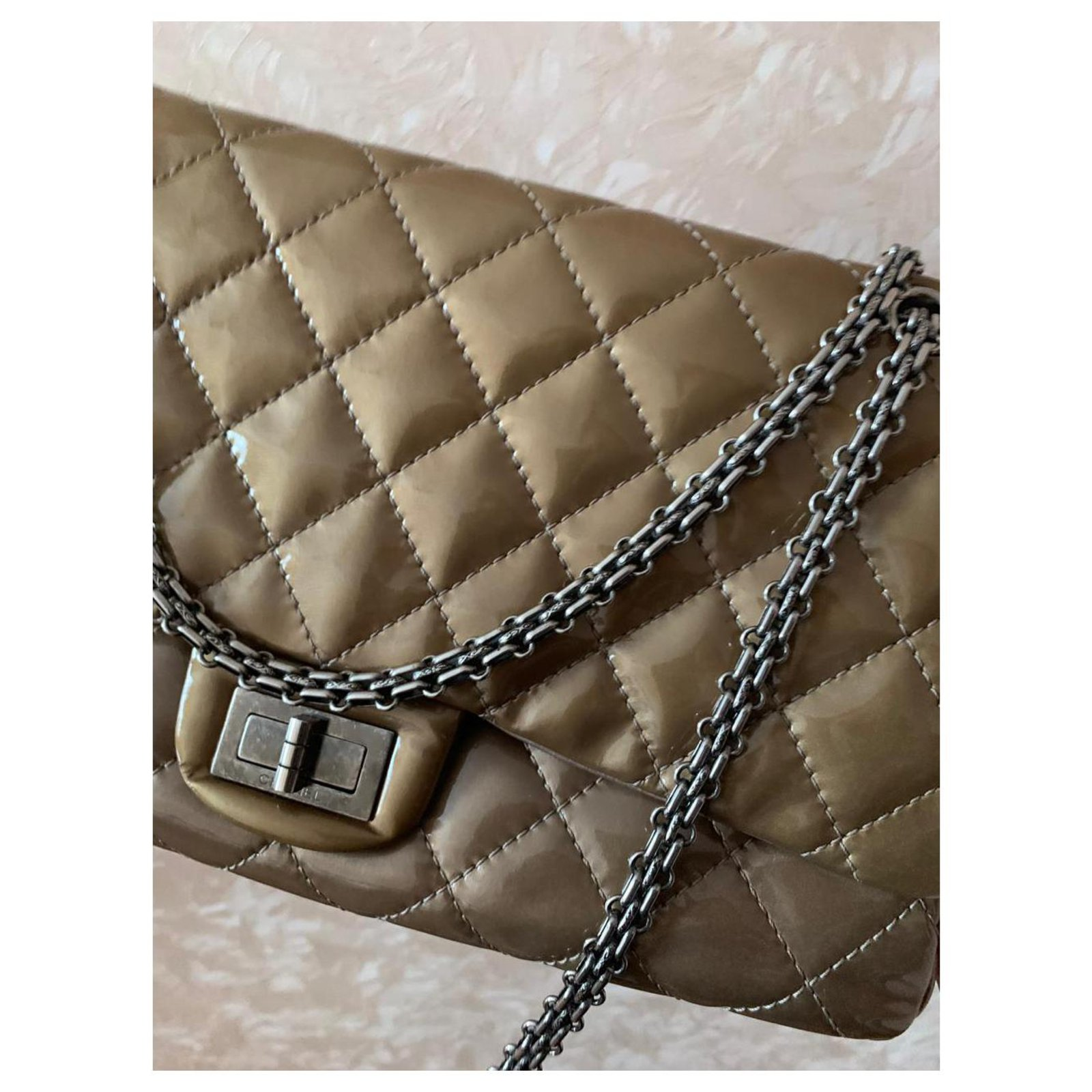 782fbde975ec46 Facebook · Pin This. Chanel Reissue 2.55 Handbags Patent leather Beige ...