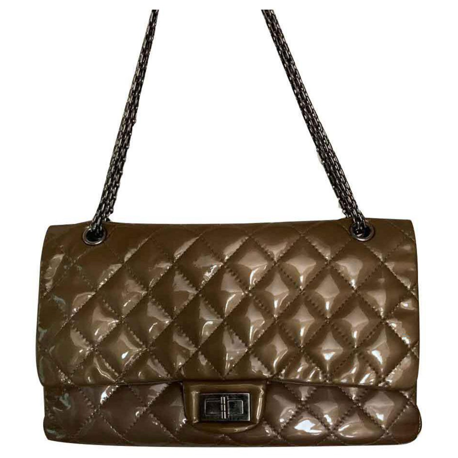 4b66e24e405bfa Chanel Reissue 2.55 Handbags Patent leather Beige ref.123189 - Joli Closet