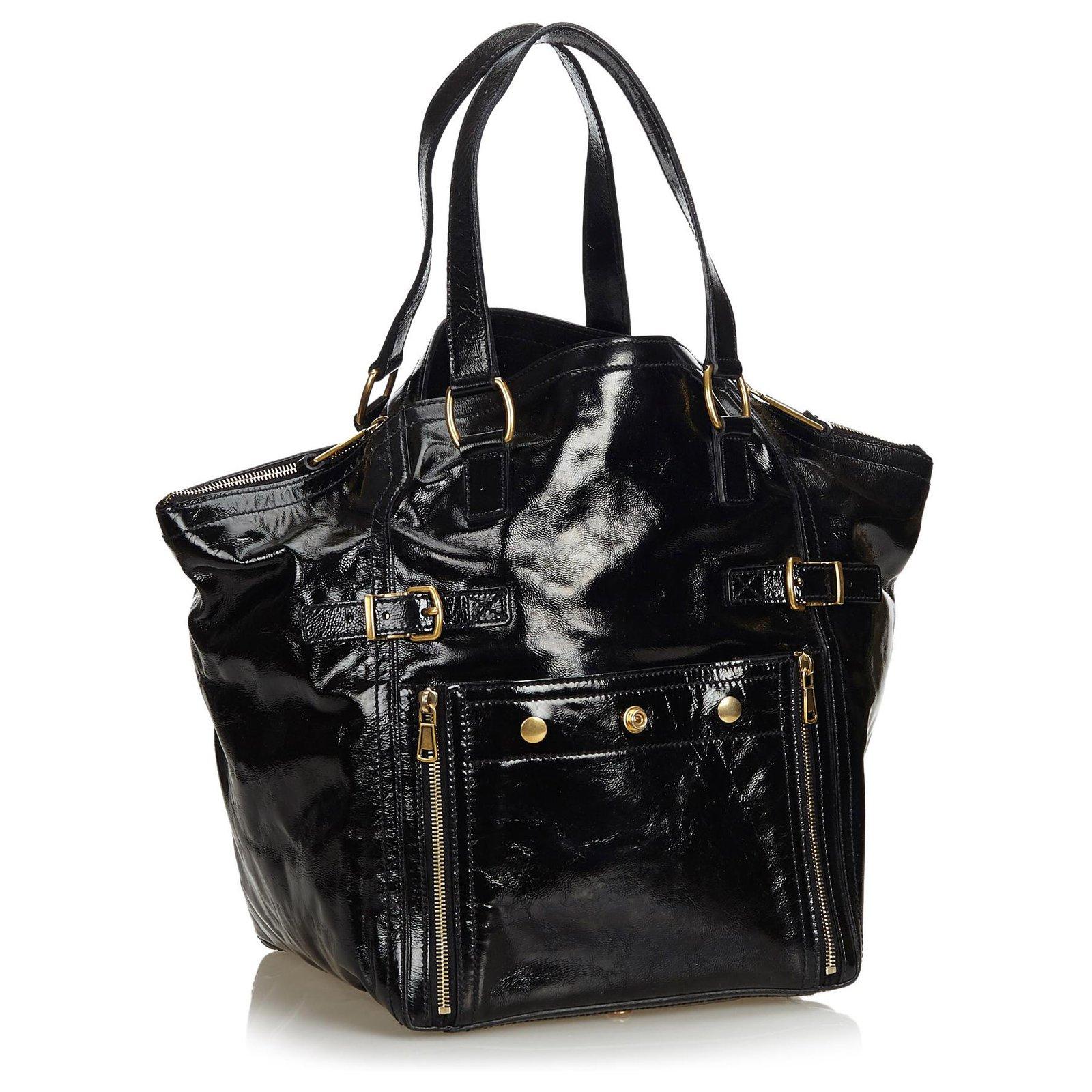 adcd0ff39 Yves Saint Laurent YSL Black Patent Leather Downtown Tote Totes Leather,Patent  leather Black ref.123285 - Joli Closet