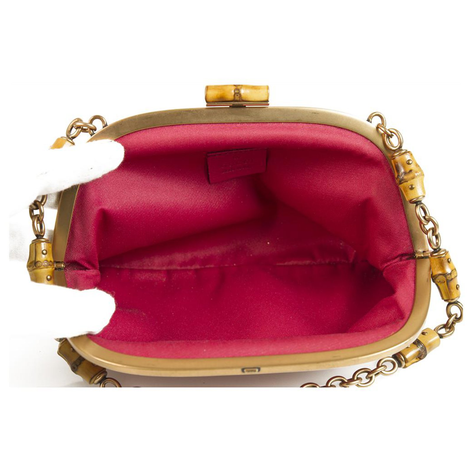 b4530aa487cdd6 Gucci GUCCI Pink Leather Bamboo and Chain Handle Bamboo Lock Frame Bag  Handbag Handbags Leather Fuschia ref.123447 - Joli Closet