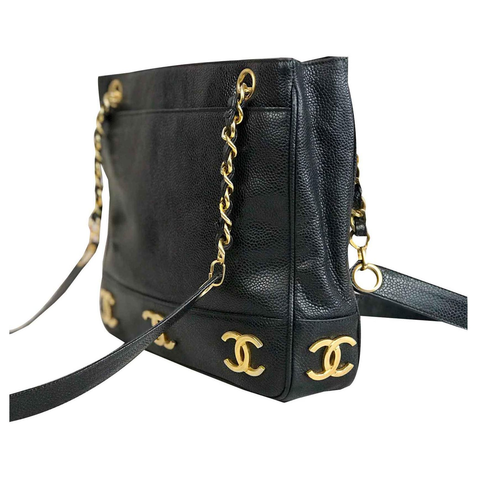477df2581daf Chanel Chanel bag in Caviar leather and golden markings Handbags Leather  Black ref.123689 - Joli Closet