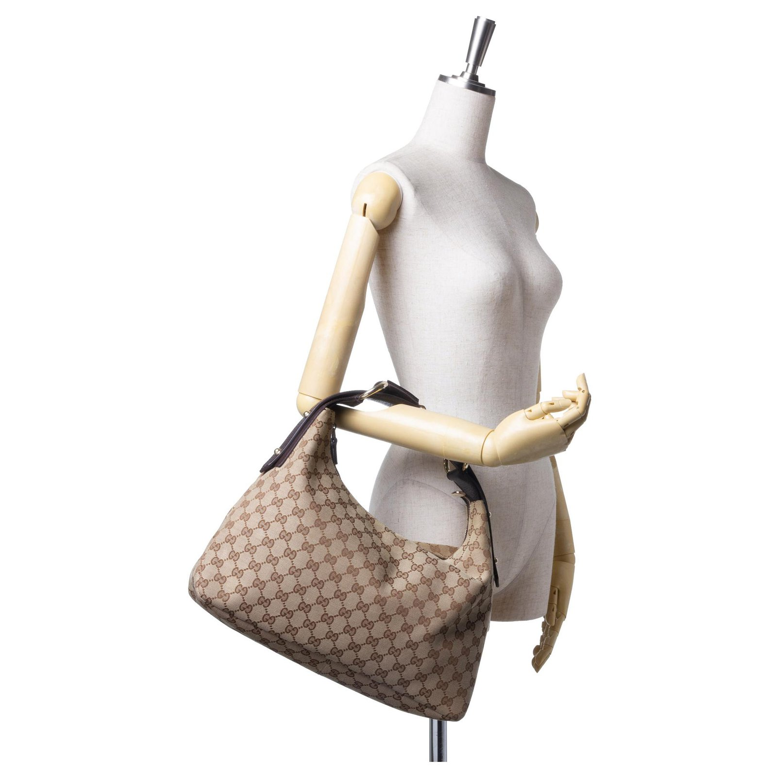 58e2a6a30706 Gucci Gucci Brown GG Jacquard Horsebit Hobo Bag Handbags  Leather,Other,Cloth Brown,Beige,Dark brown ref.124213 - Joli Closet