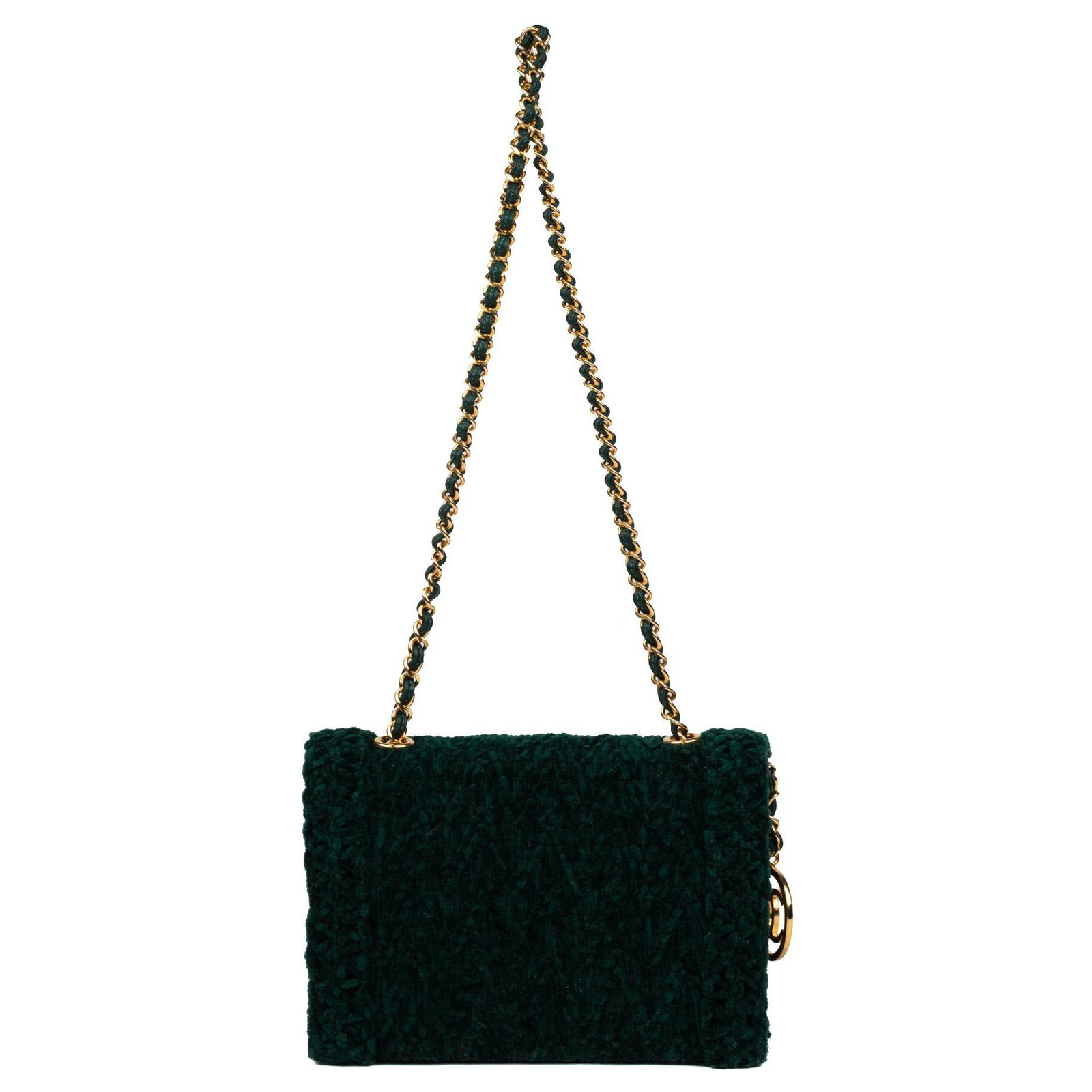 a52ff994611fb6 Chanel Beautiful Chanel evening bag in velvet and green leather in very  good condition! Handbags Leather,Velvet Green ref.124846 - Joli Closet