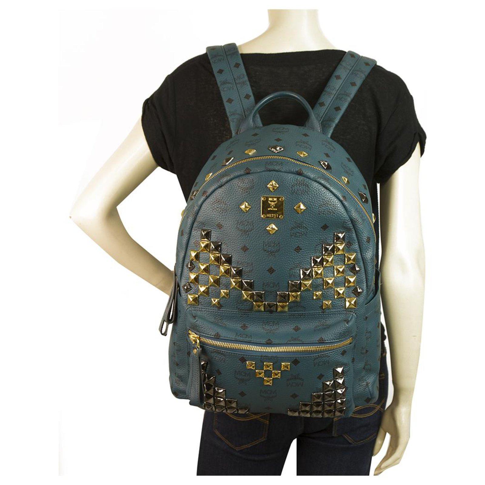 Mcm Mcm Large Stark Visetos Monogram Backpack Teal Blue Studded Backpacks Other Blue Ref 124884 Joli Closet